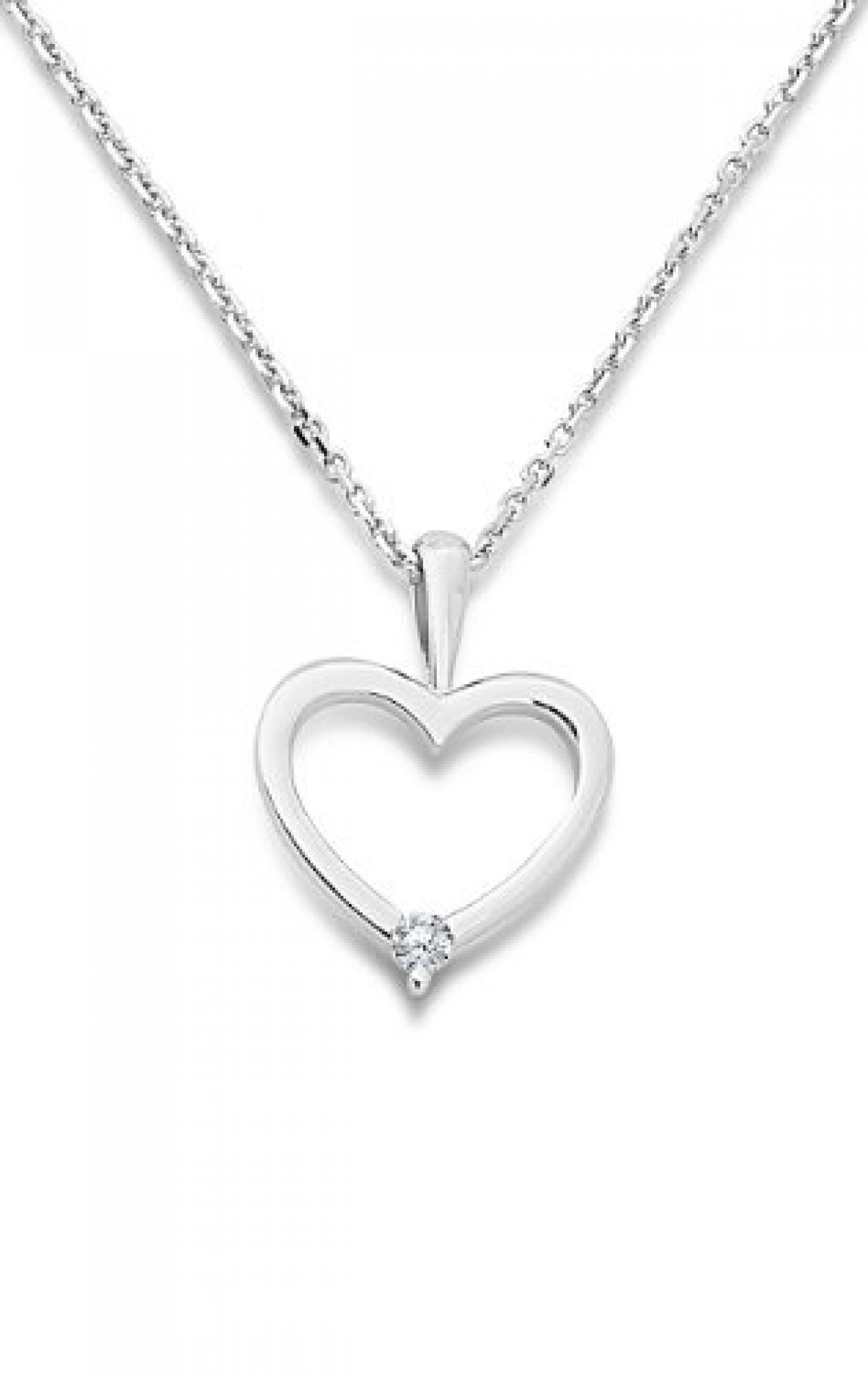 Miore Damen-Halskette Herz mit Brillant 9 Karat 375 Weißgold 42cm + 3cm MY005N