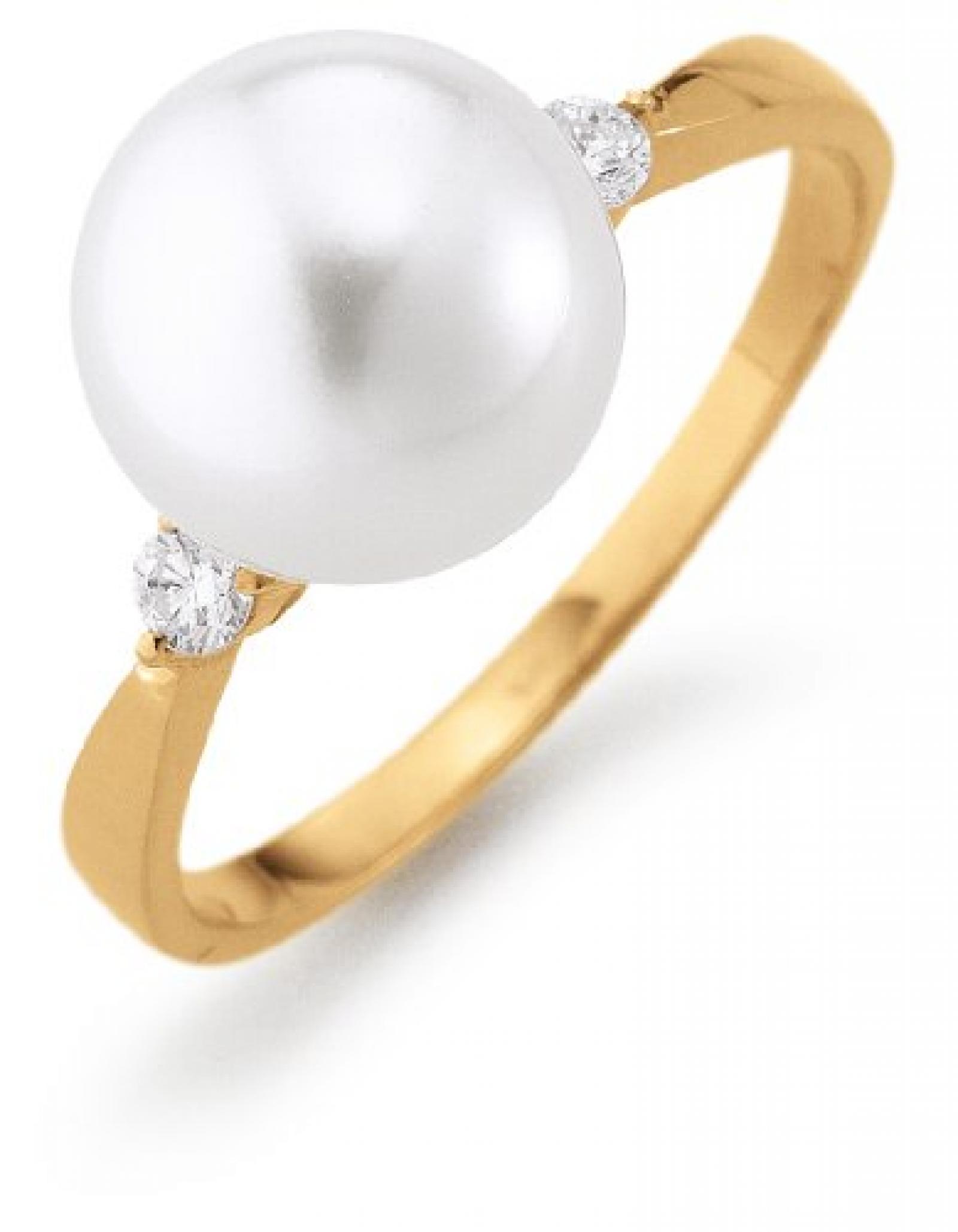 Adriana Damen-Ring Südsee Zuchtperle mit Brillant 585 Gelbgold Stella Di Notte N22