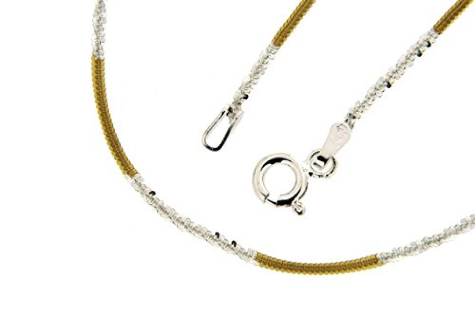 Kettenworld Damen-Halskette im Criss-Cross-Design 925 Sterling Silber bicolor 282430