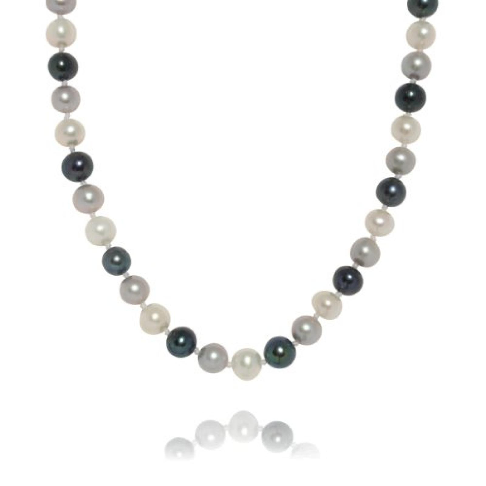 Valero Pearls Classic Collection Damen-Kette Hochwertige Süßwasser-Zuchtperlen in ca.  9 mm Oval weiß / silbergrau / pfauenblau 925 Sterling Silber    43 cm + 5 cm Verlängerung   60020059