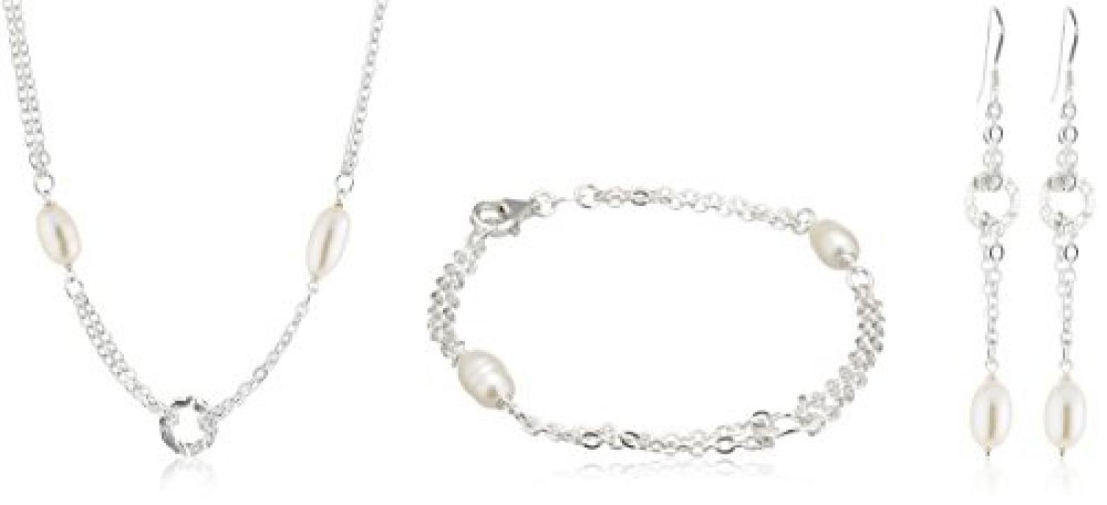 ZEEme Pearls 3 teiliges Set bestehend aus einem 41cm langem Collier und einem 19cm langem Armband und dazu passenden Ohrhaken 301200011