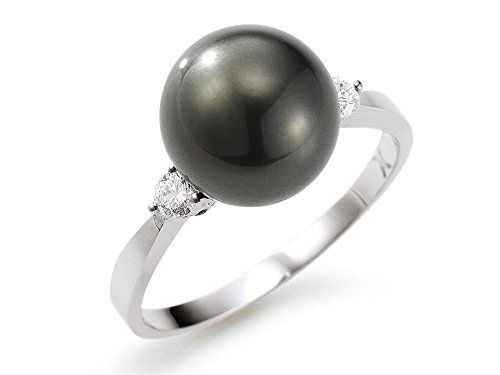 Adriana Tahitiperlen Ring mit Brillanten 0,10 ct Stella di Notte N14
