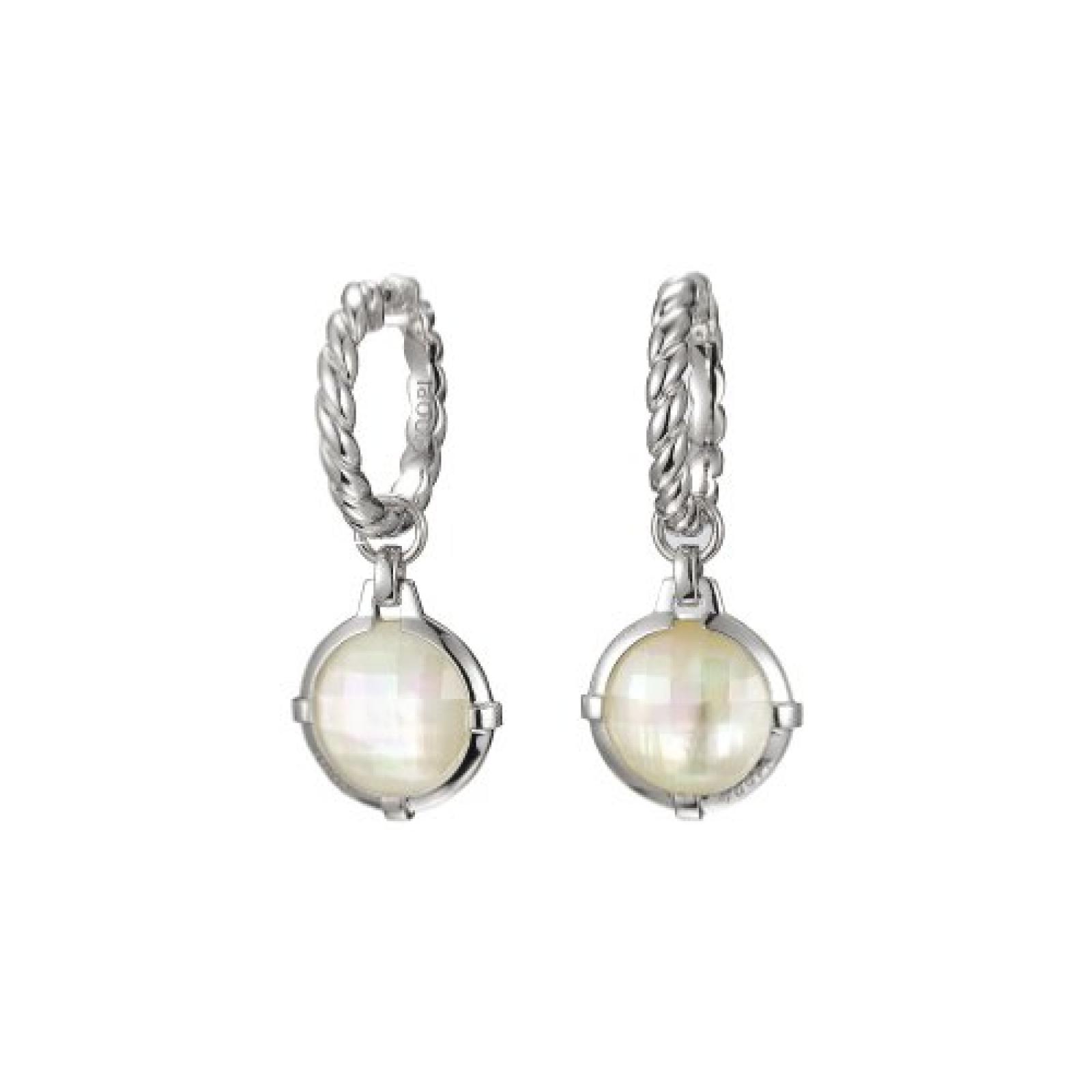 Joop JPCO90087A000 Damen Creolen Silber mit weißem Perlmutt und Zirkonia