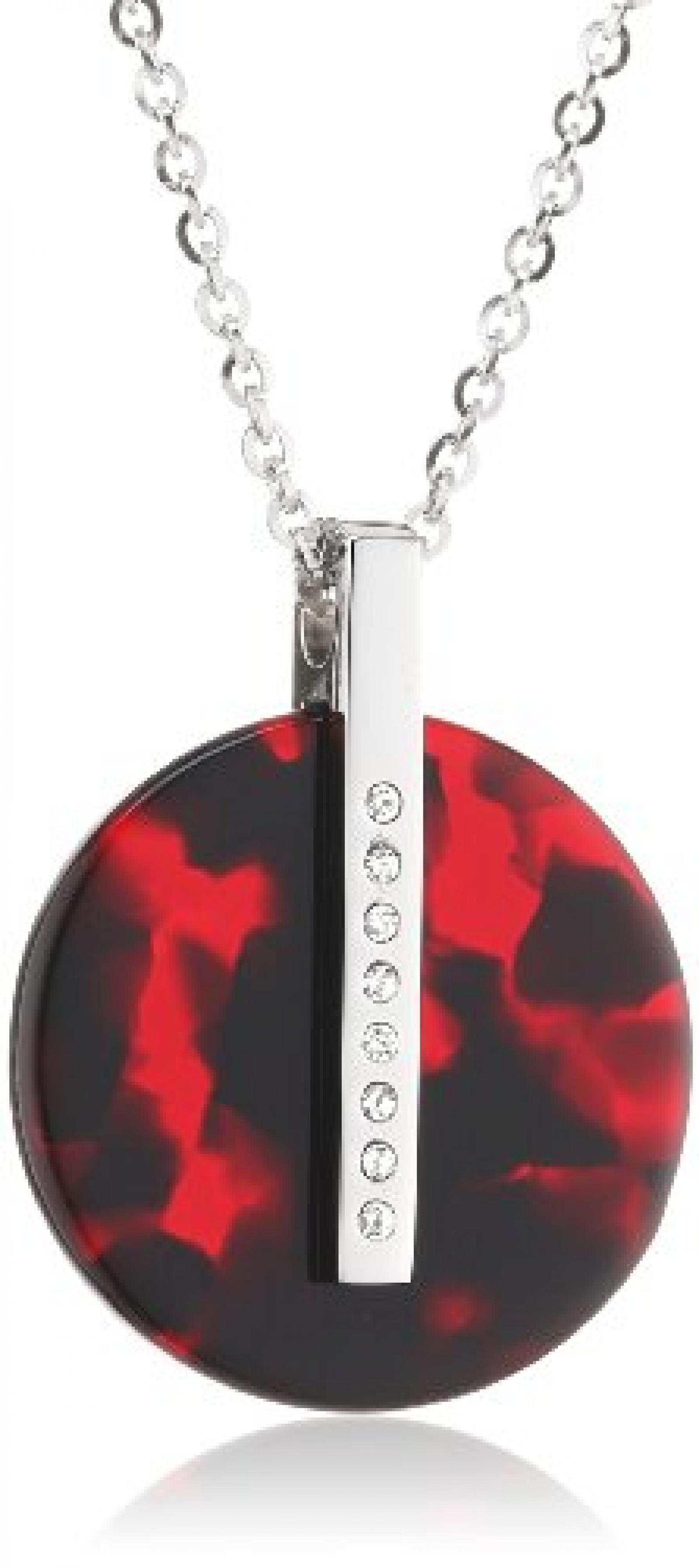 Mike Ellis New York Damen Halskette Edelstahl Acryl rot 42.0 cm S188 IPS