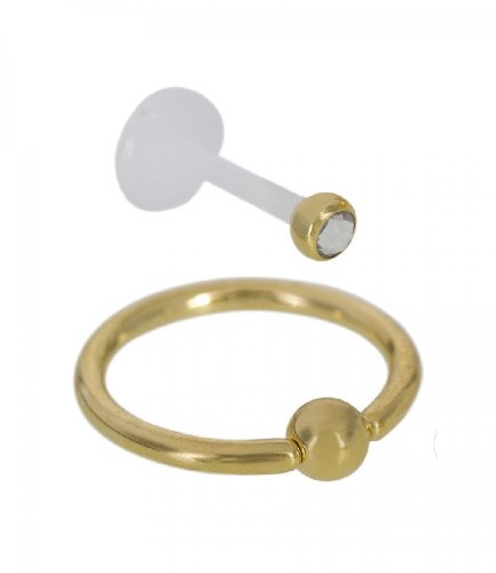 SIX 2er Set Lippenpiercings mit goldenem Ring und Strass-Stecker (269-325)