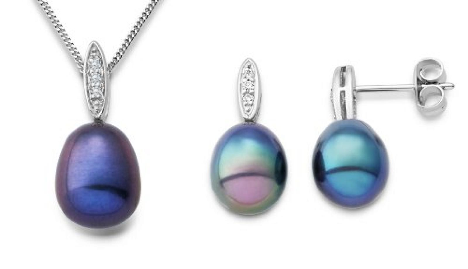 Miore Damen-Set: Halskette + Ohrringe Süßwasser-Zuchtperlen und Diamant 9 Karat 375 Weißgold MSET017