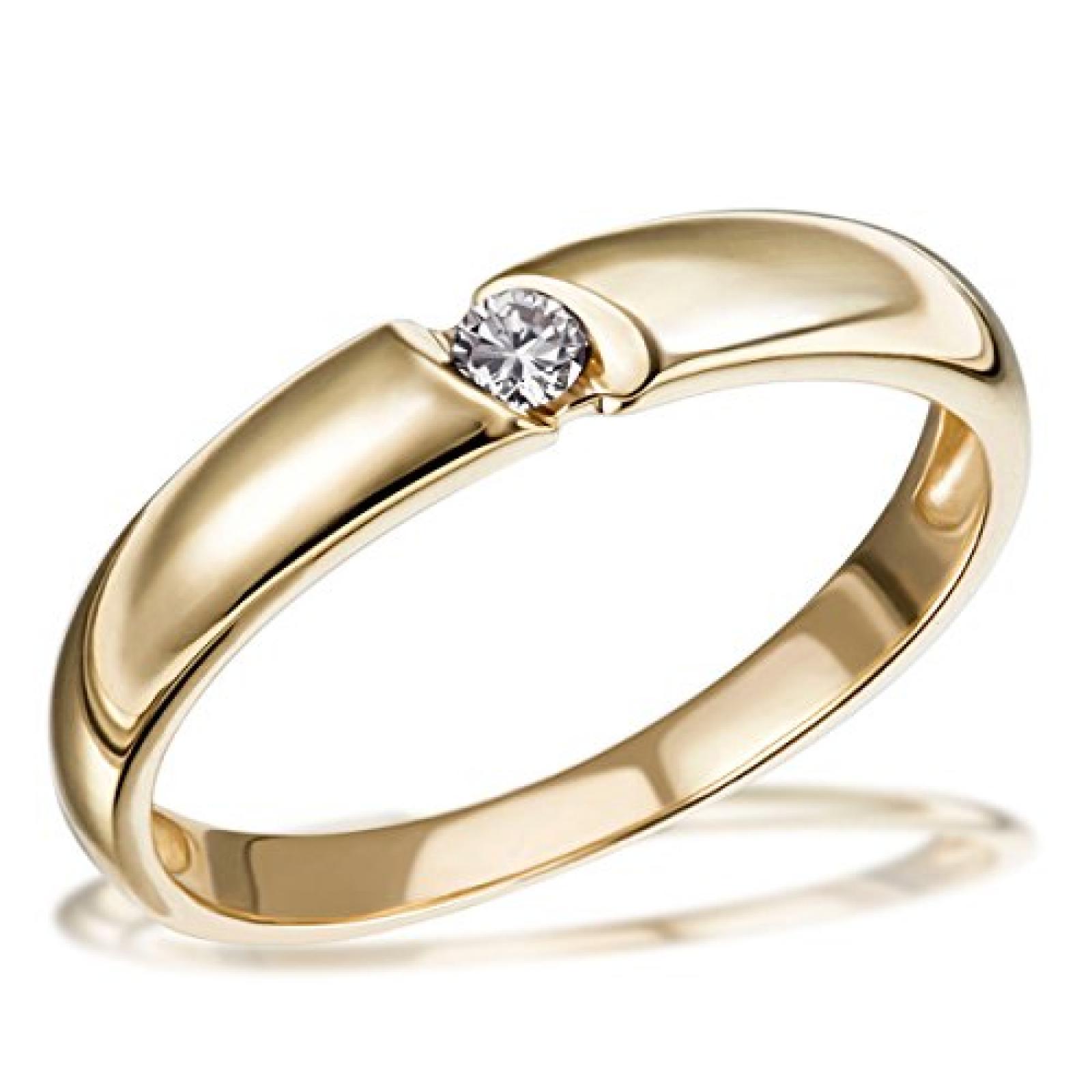 Goldmaid Damen-Ring Solitär Verlobungsring 585 Gelbgold 1 Brillant 0,07 ct. So R730GG
