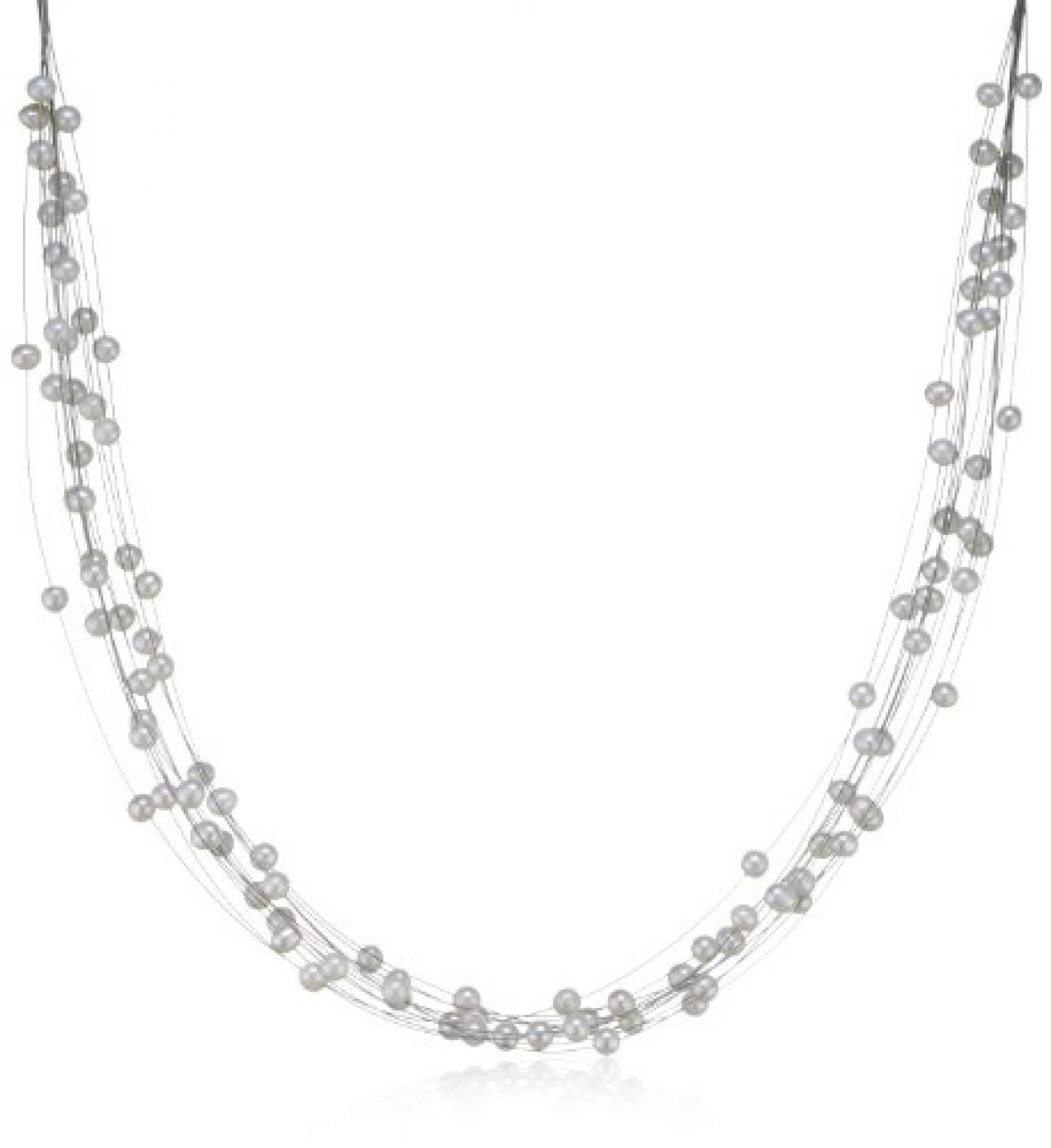 Valero Pearls Classic Collection Damen-Kette Hochwertige Süßwasser-Zuchtperlen in ca.  6 mm Oval weiß 925 Sterling Silber    43 cm + 5 cm Verlängerung   440510