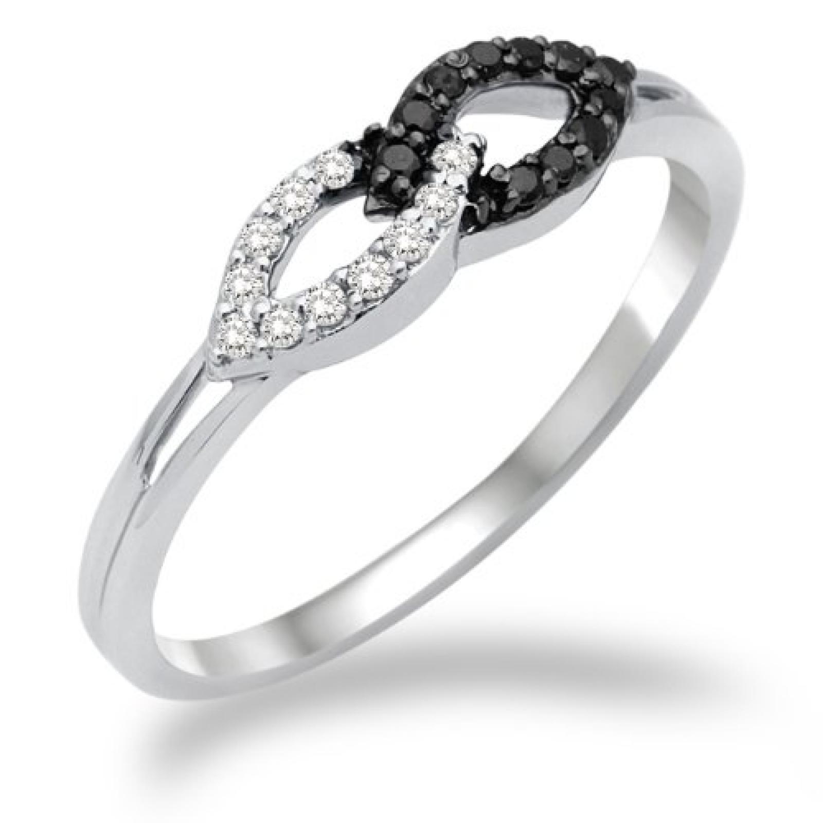 Miore Damen-Ring 750 Weißgold mit weiß und Schwarzen Brillanten MF8016RM