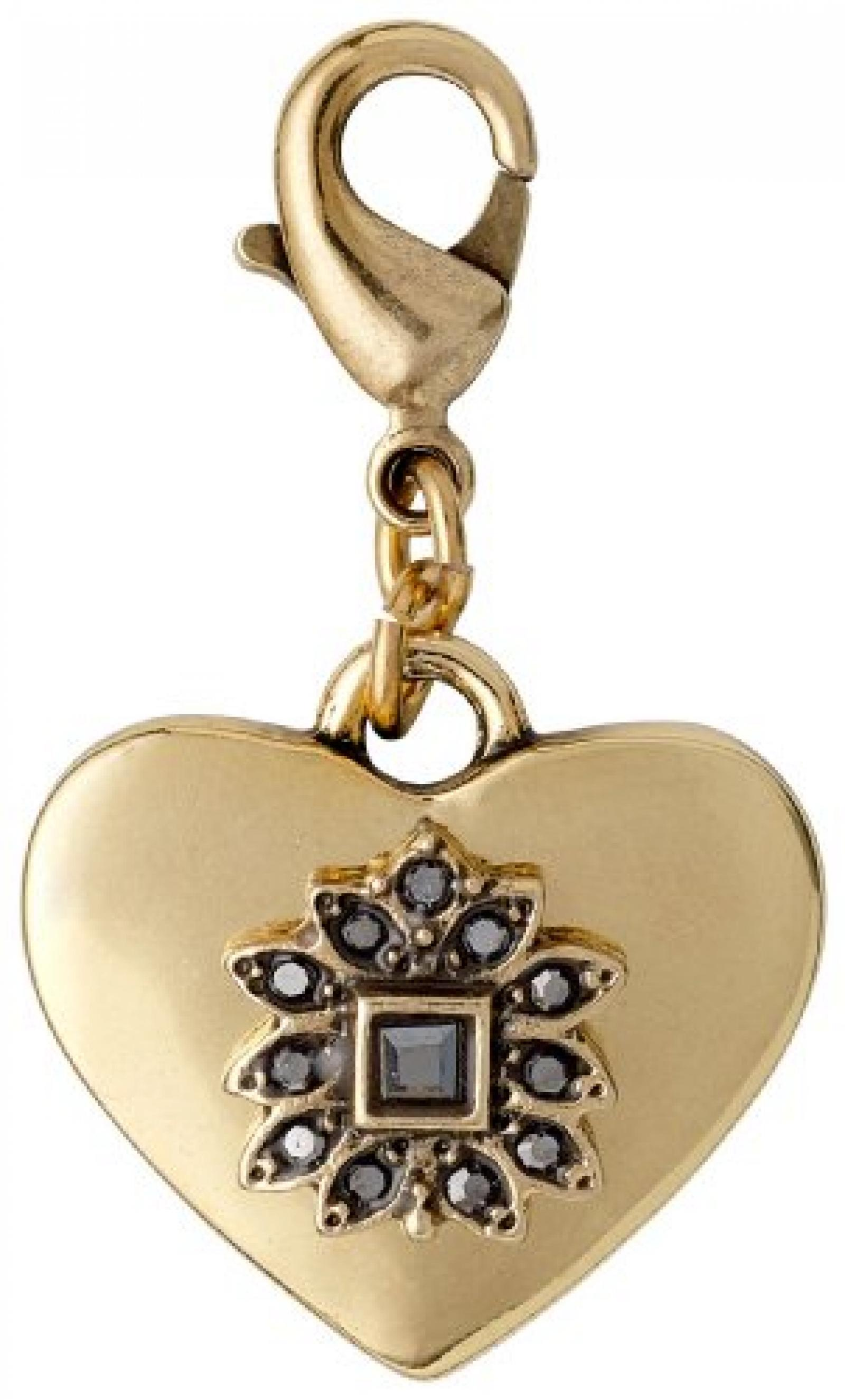Pilgrim Jewelry Damen-Anhänger Messing Kristall Charms Vergoldet 3.3 cm grau 401342103