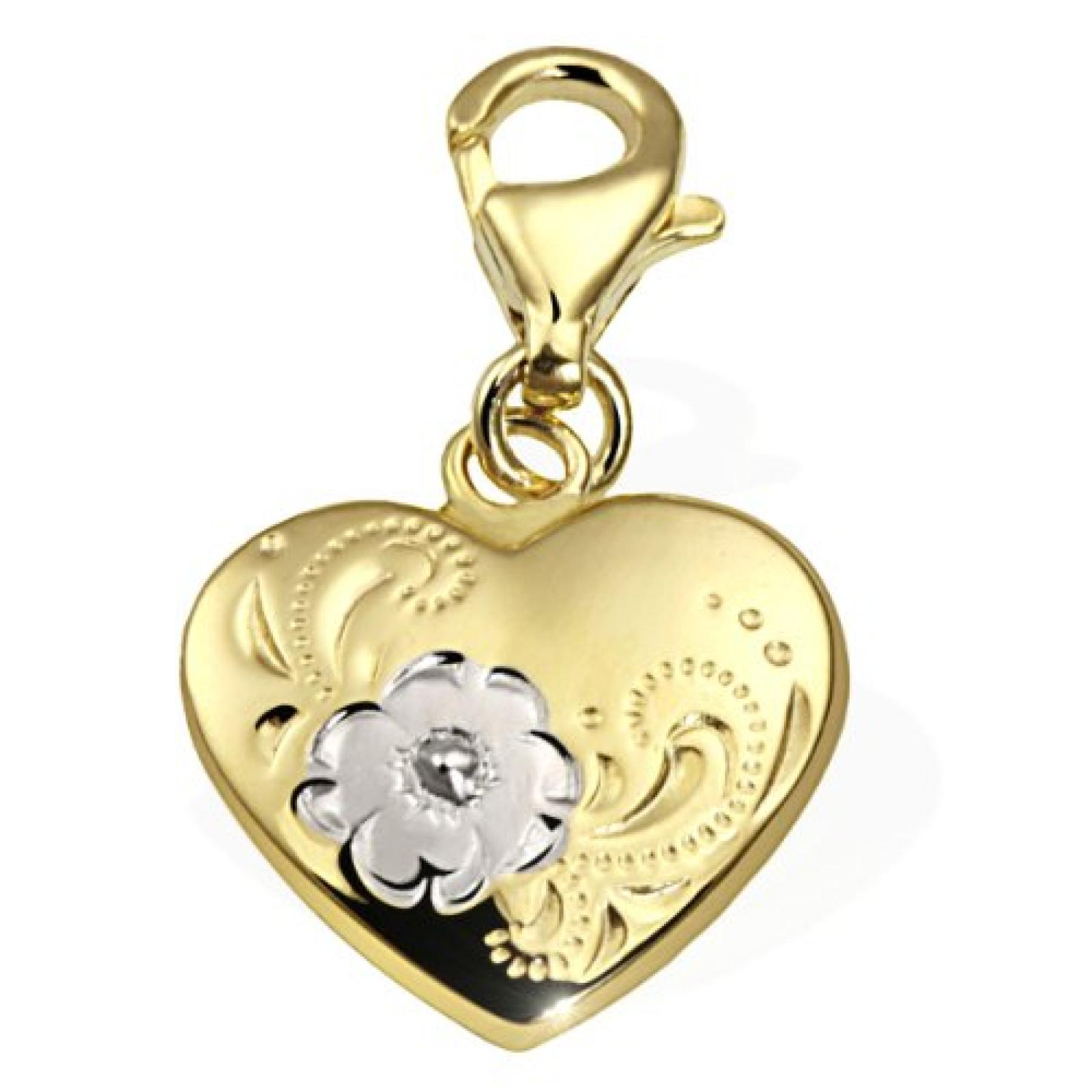 Goldmaid Damen-Charm Herz 333 Gelbgold Blumen Gch A4421GG