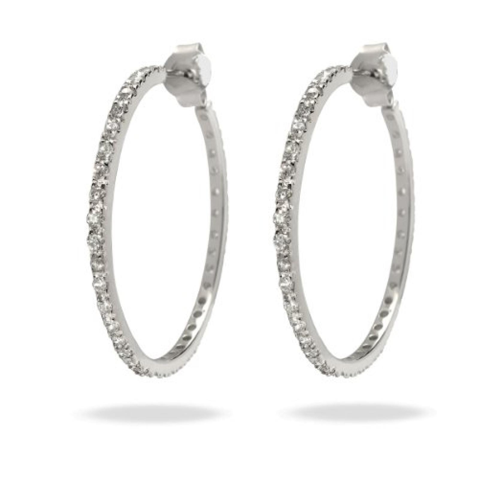 Rafaela Donata Glamour Collection Damen-Creolen 925 Sterling Silber Zirkonia weiß  60832006