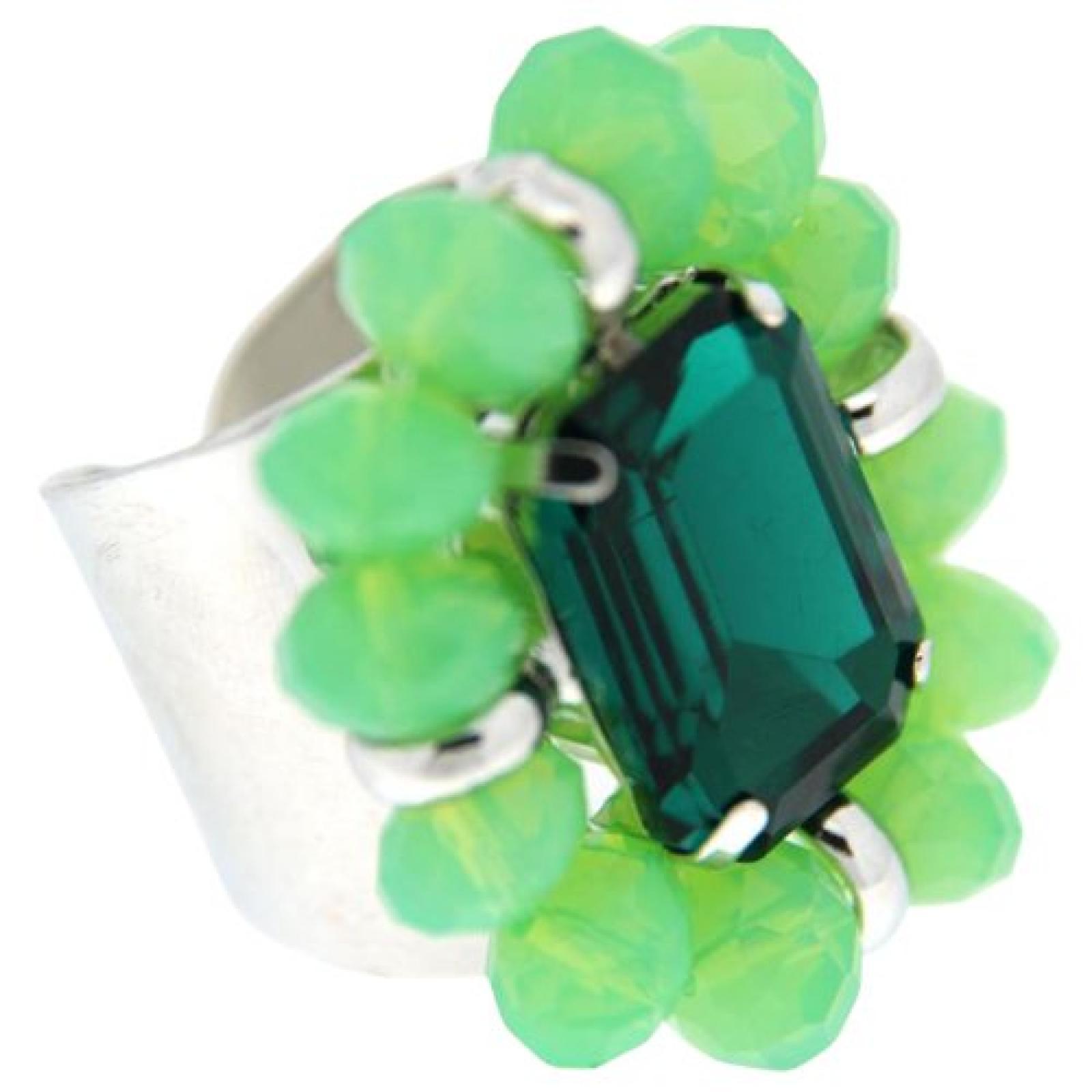 Sweet Deluxe Damen-Ring Ada silber/grün/schwarz 00940