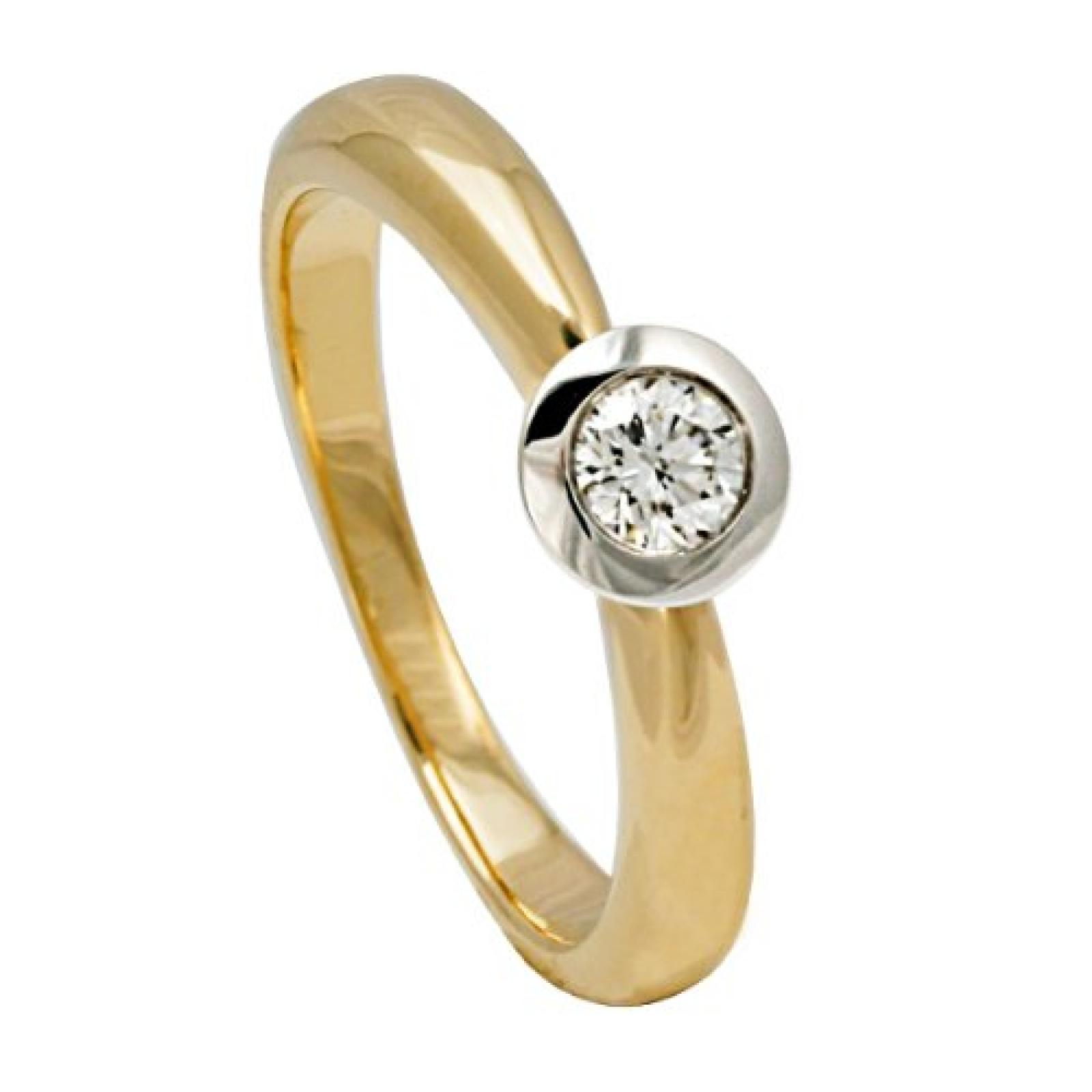 Bella Donna Damen-Ring 585 Bicolor 1 Diamant 0.25 ct. weiß Lupenrein