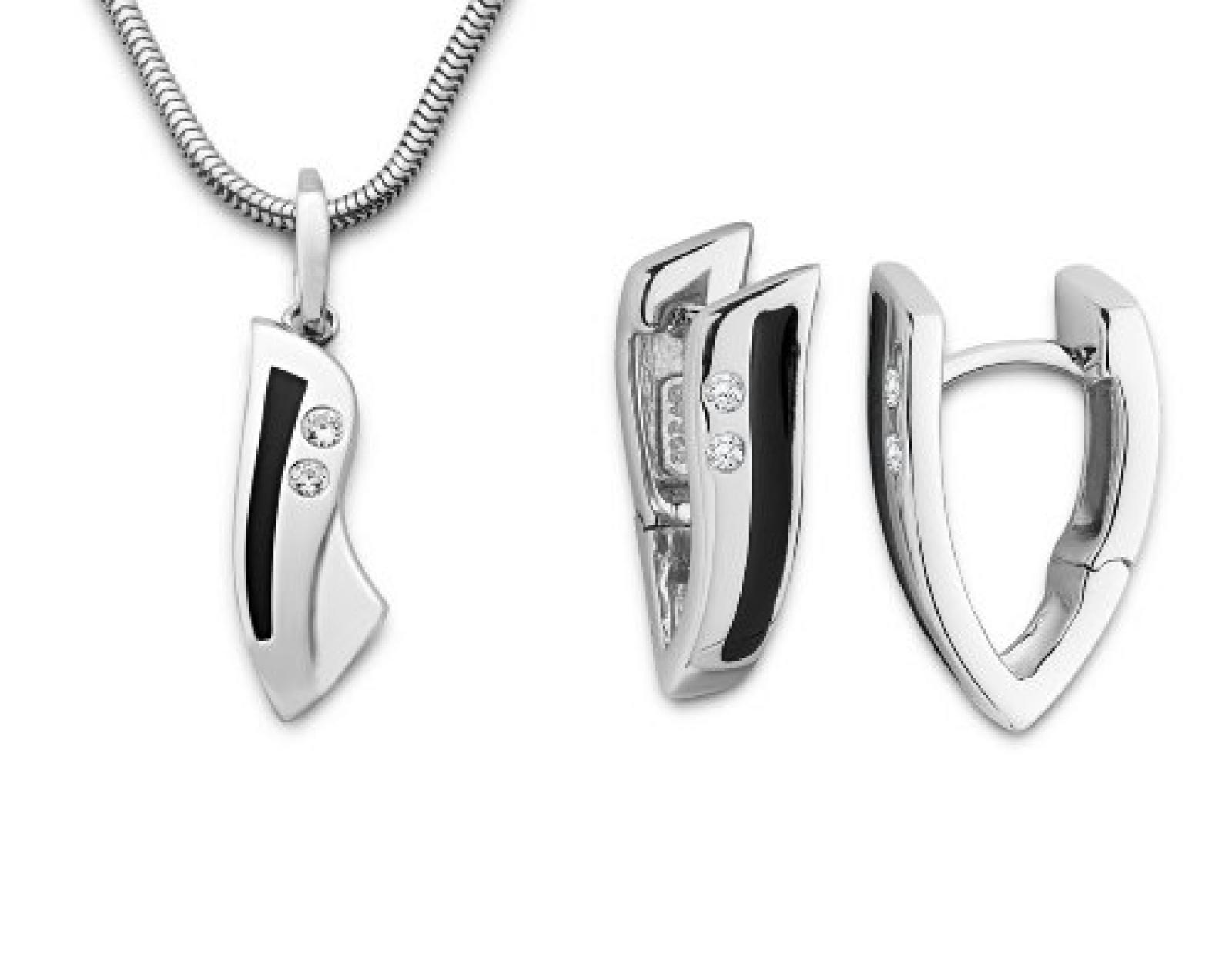 Miore Damen-Set: Halskette + Ohrringe Zirkonia und Emaille schwarz Sterling Silber 925 MSET014