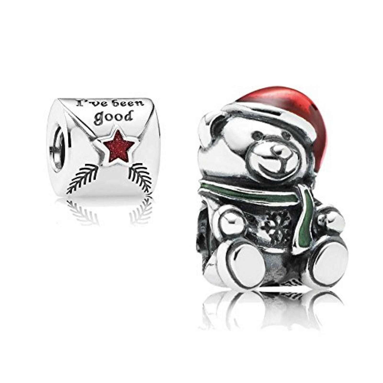 Original Pandora Geschenkset - 1 Silber Element Weihnachts-Teddy mit roter, weißer und grüner Emaille 791391ENMX und 1 Silber Element Brief an den Weihnachtsmann mit roter Emaille 791390EN58