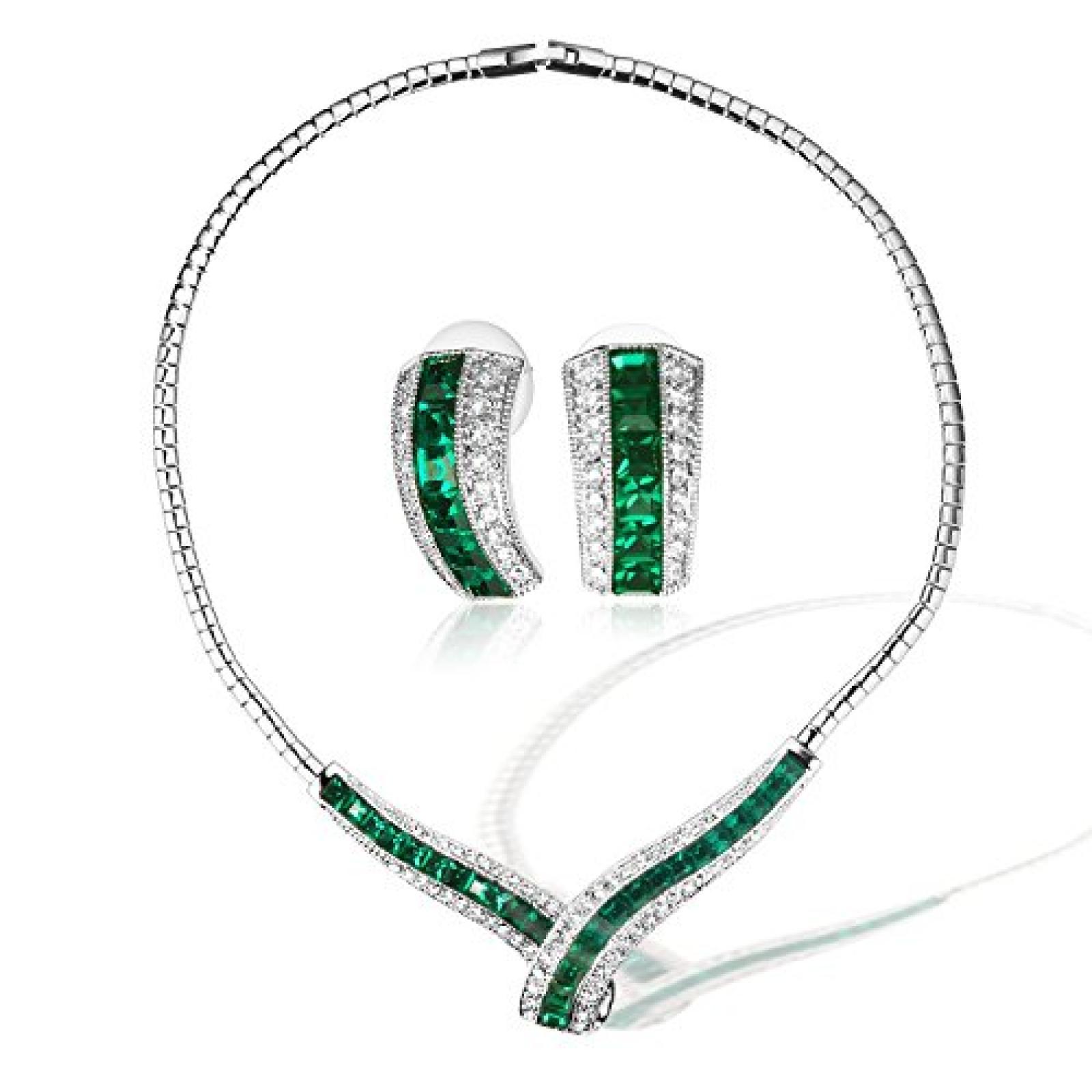 Weihnachtsgeschenk Ninabox® grün Damen Halskette-Ohrringe-Schmuckset ...