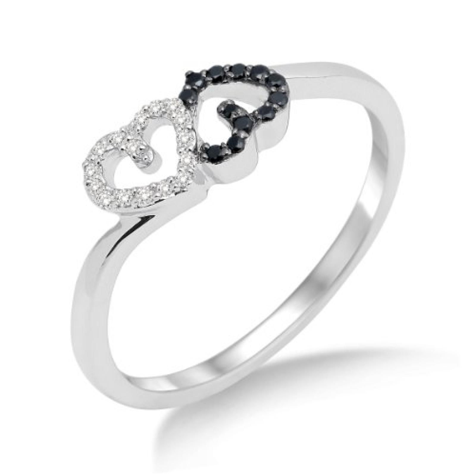 Miore Damen-Ring 750 Weißgold mit Herzen Brillanten Weiß und Schwarz MF8014RM