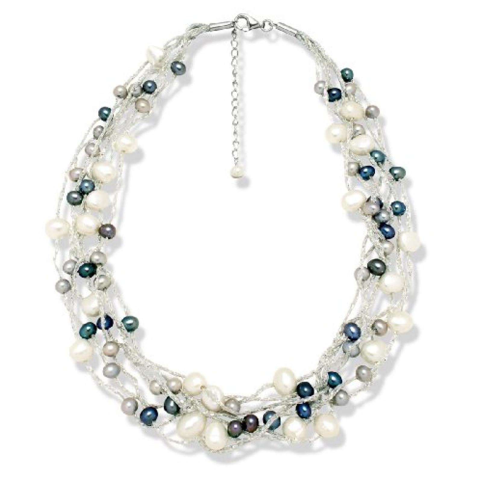 Valero Pearls Fashion Collection Damen-Kette Hochwertige Süßwasser-Zuchtperlen in ca.  6 mm Barock weiß / hellgrau / pfauenblau 925 Sterling Silber    43 cm + 5 cm Verlängerung   60201082