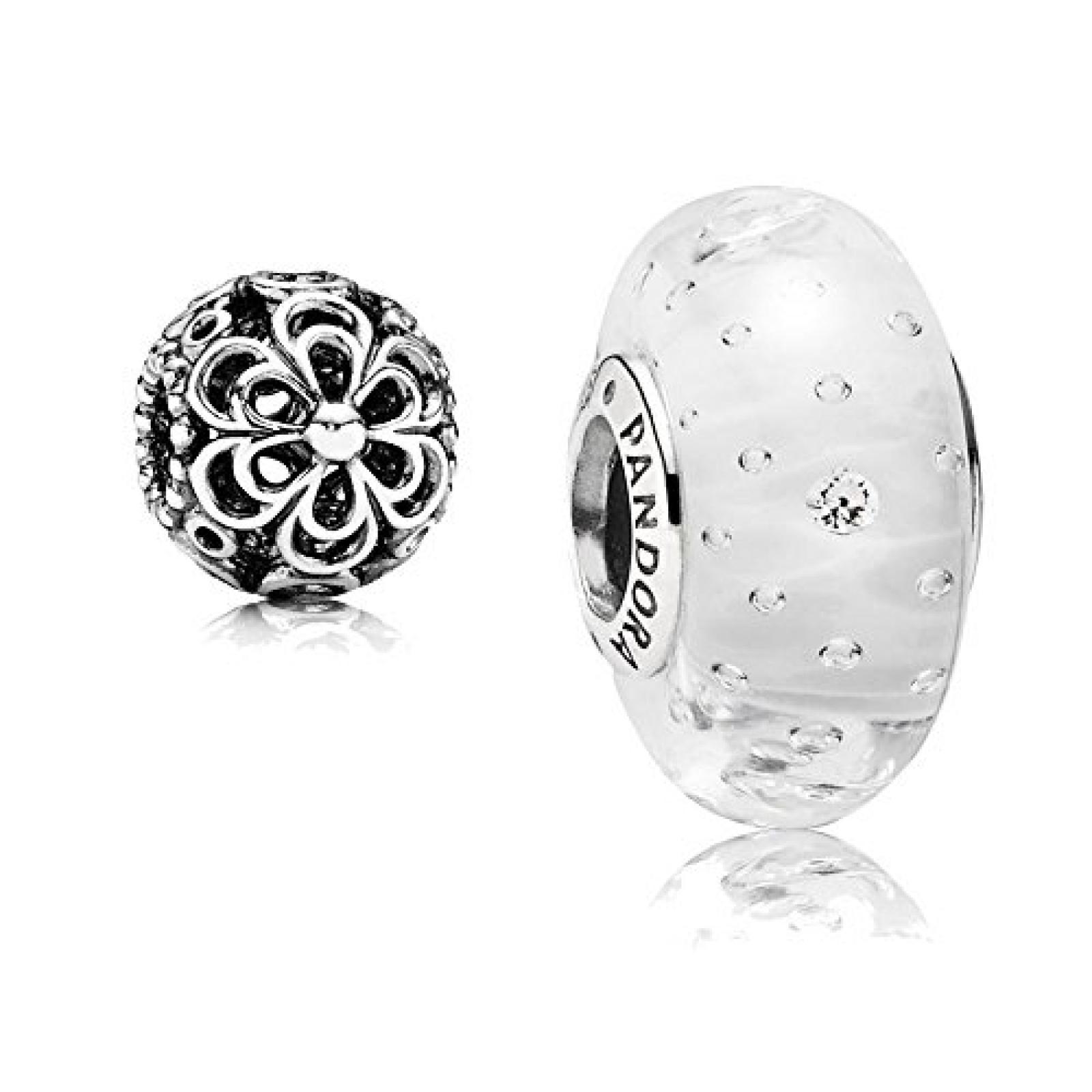Original Pandora Geschenkset - 1 Silber Muranoglas Element Glitzer-Glas Weiß mit klarem Zirkonia 791617CZ und 1 Filigranes Silber Element Durchbrochene Apfelblüte 790965