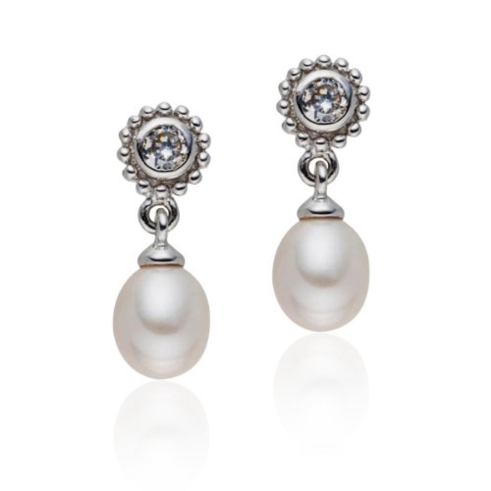 Valero Pearls Silver Collection Damen-Ohrstecker Hochwertige Süßwasser-Zuchtperlen in ca.  6-7 mmOval weiß 925 Sterling Silber   Zirkonia weiß    60840028