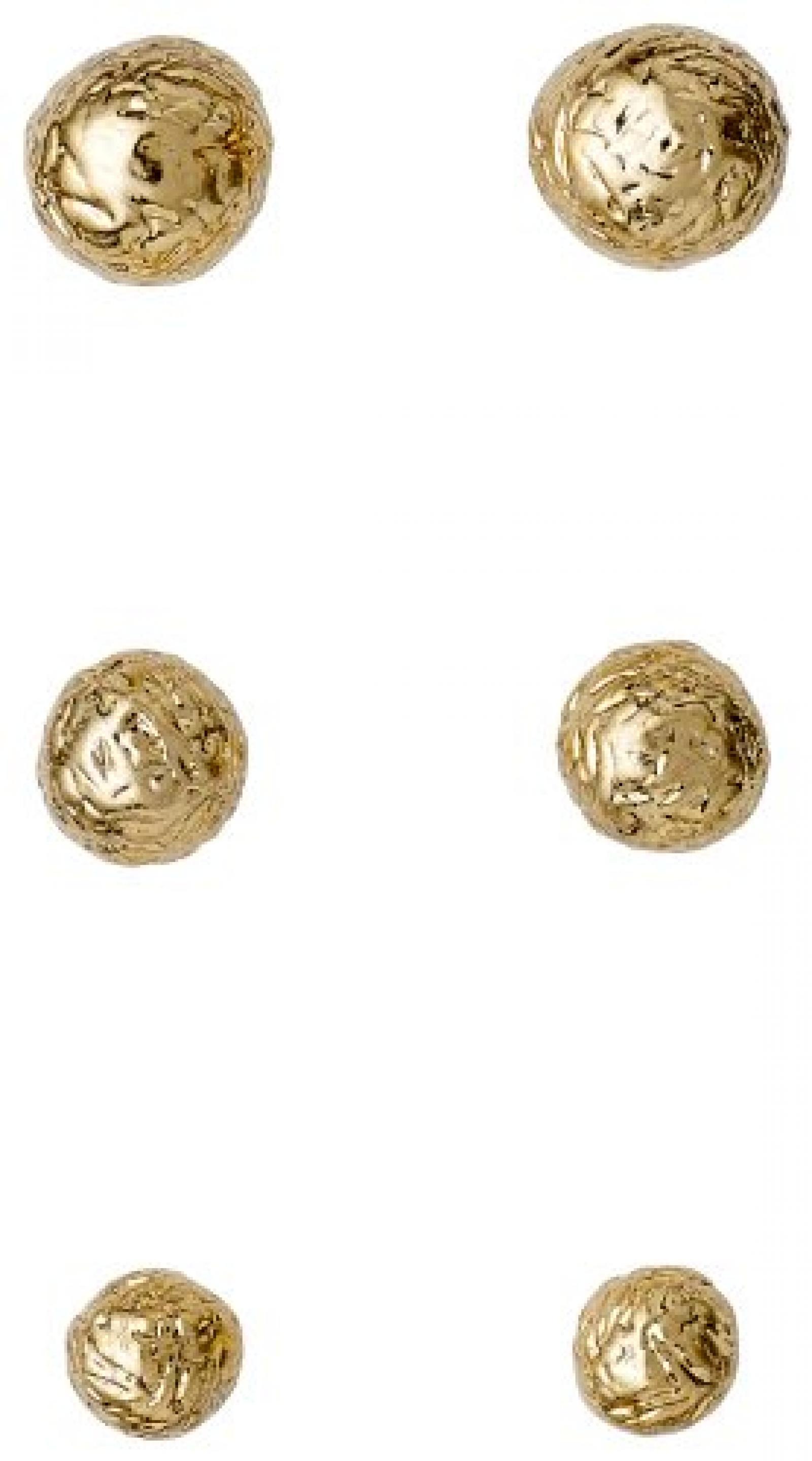 Pilgrim Jewelry Damen-Set: 3 Paar Ohrstecker Messing Ear post Vergoldet 0 0.3/0.4/0.5 cm 311342003