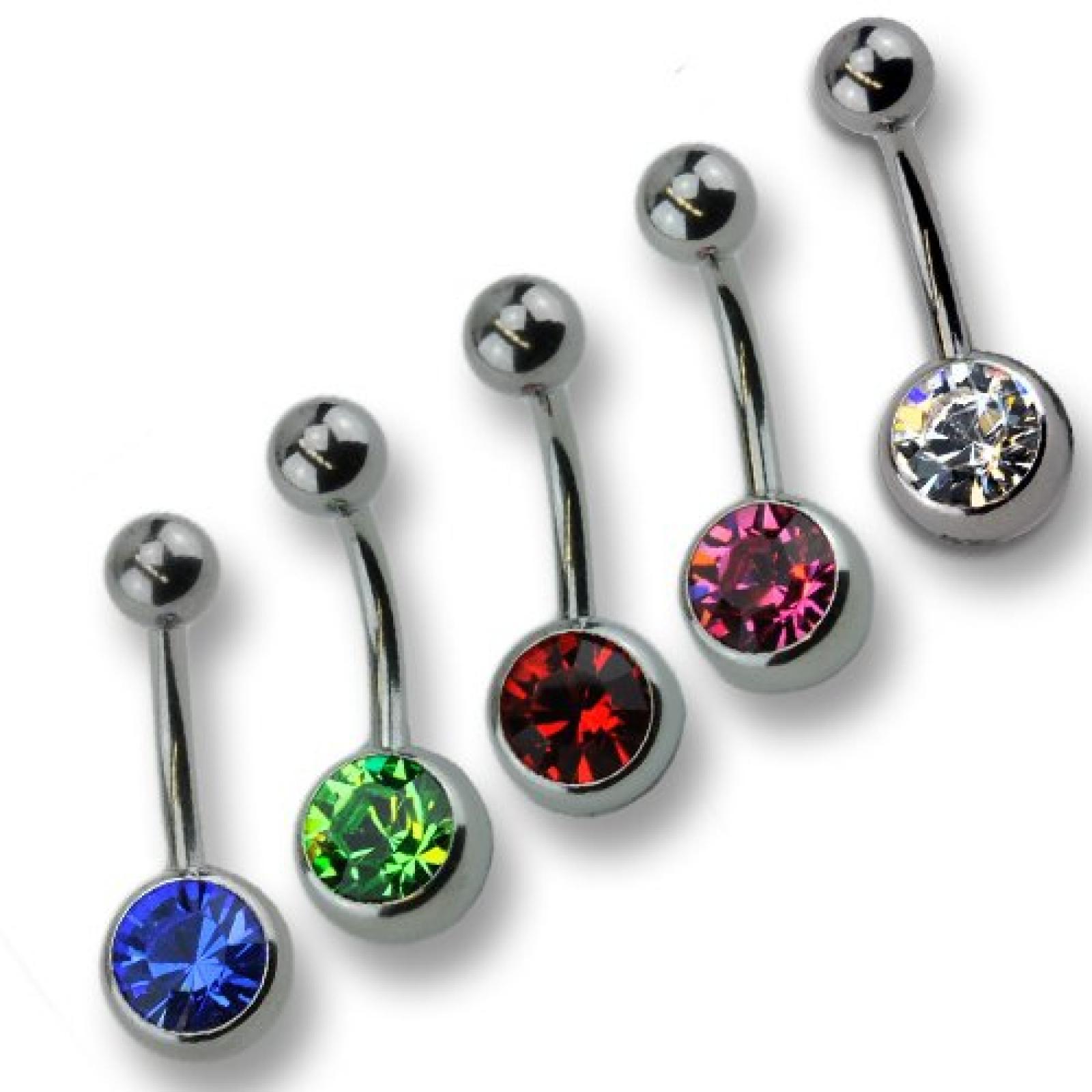Zeeme Unisex-Piercing 10mm Mit Verschiedenen Kristallen 159000770