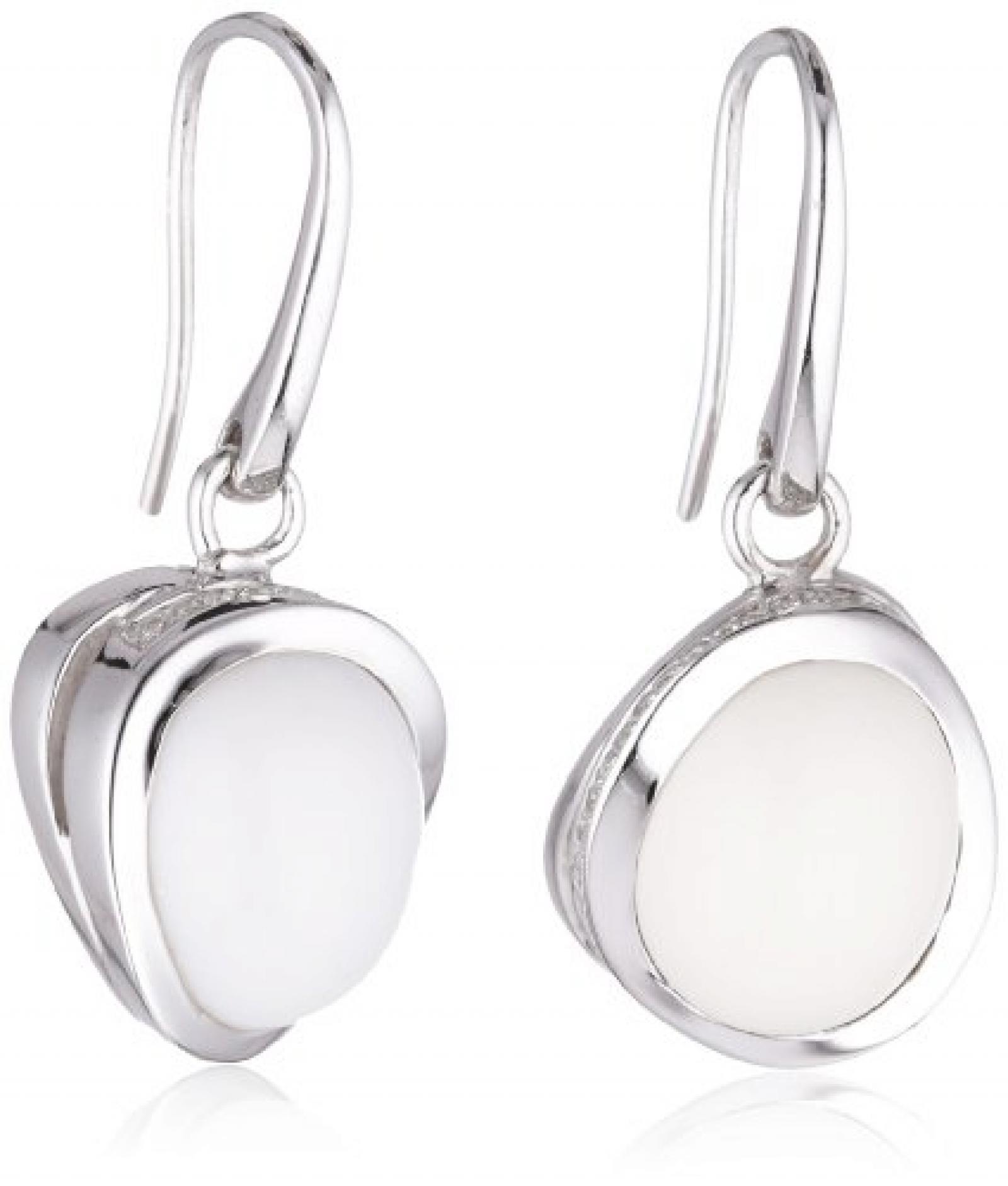 Viventy Damen-Ohrhänger 925 Sterling Silber mit 1 Zirkonia in weiss und 1 Achat in weiss 763424