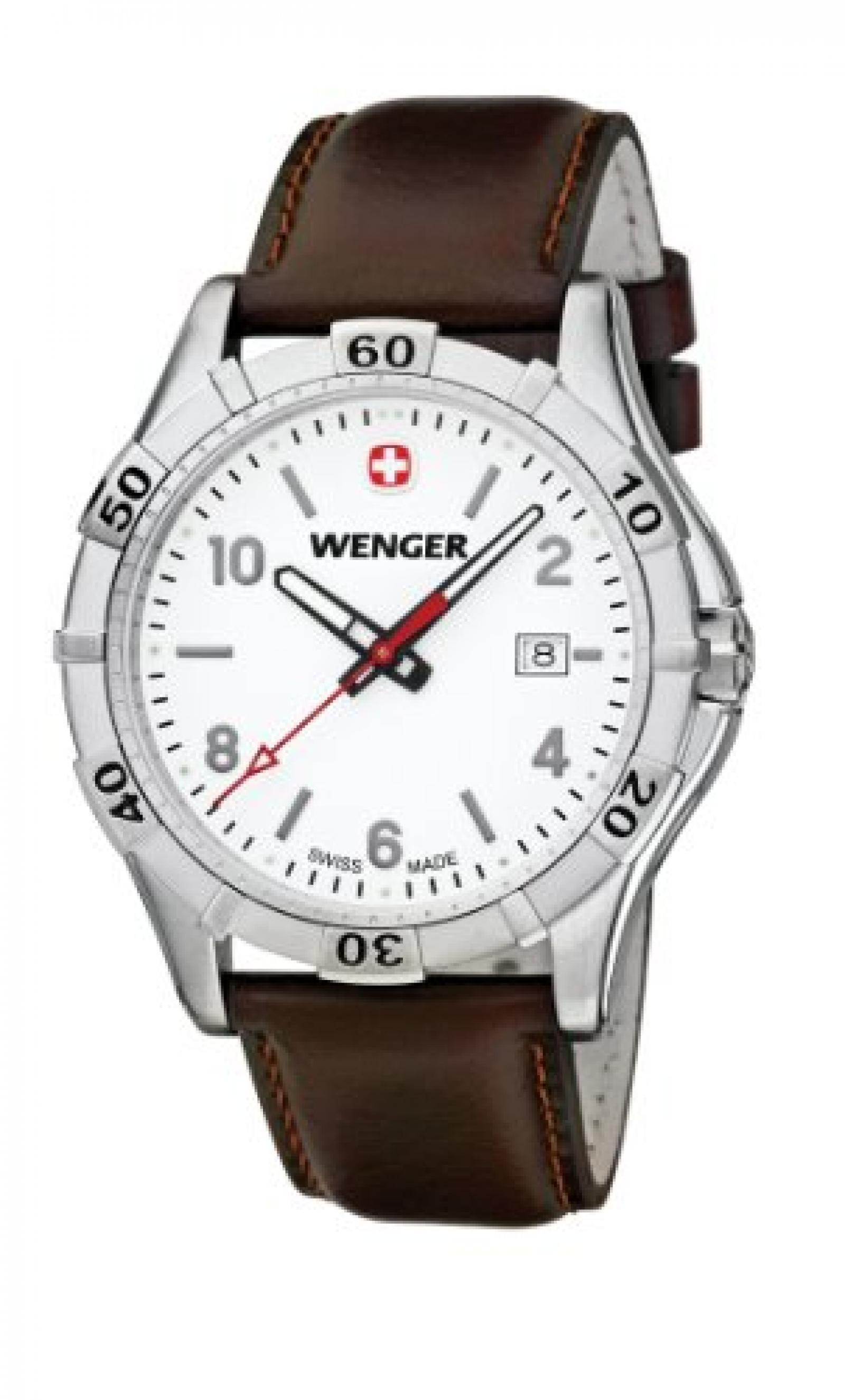 Wenger Herren-Armbanduhr XL Platoon Analog Quarz Leder 01.9411.101
