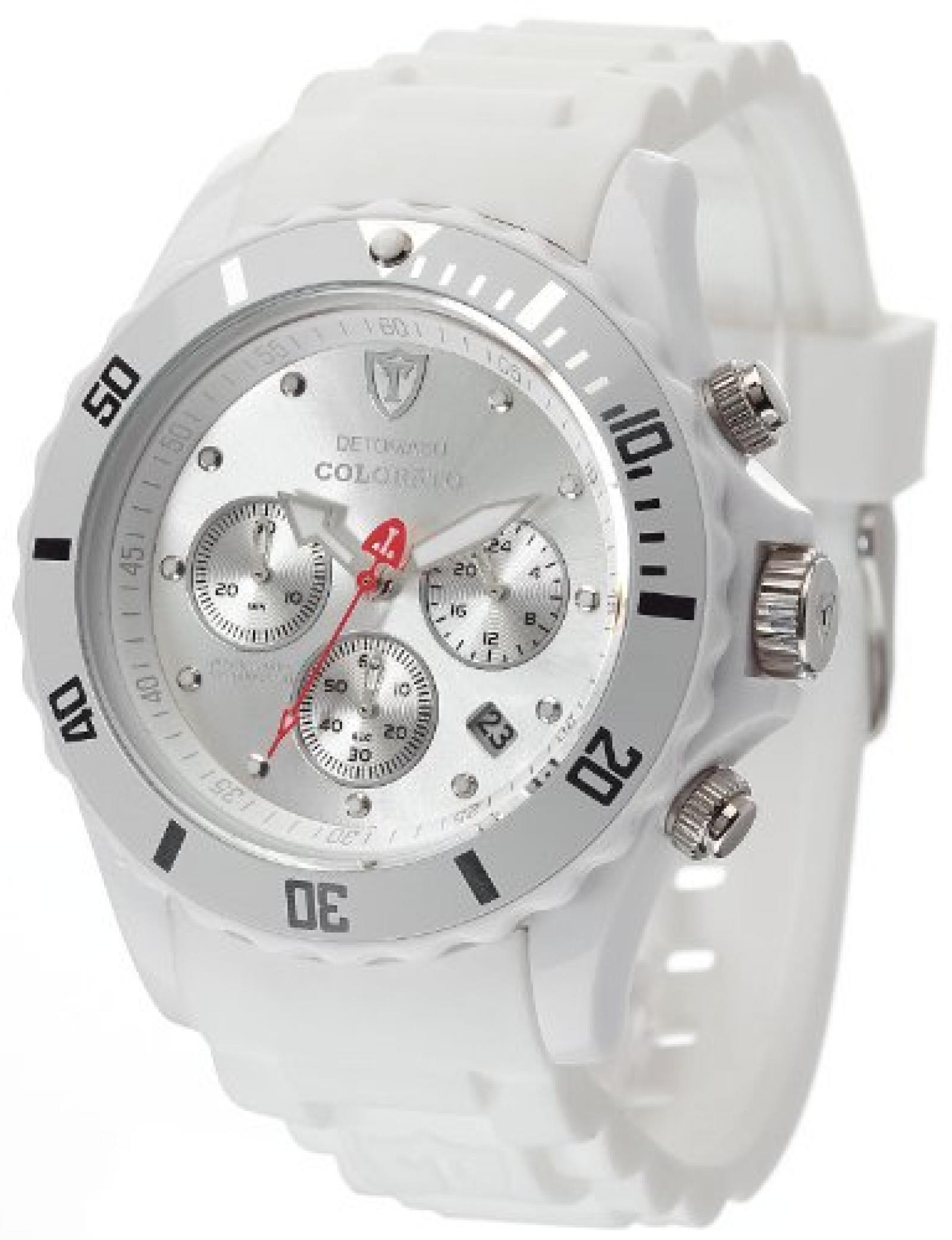 Detomaso Unisex-Armbanduhr COLORATO CHRONO White/White Chronograph Quarz Silikon DT2019-E