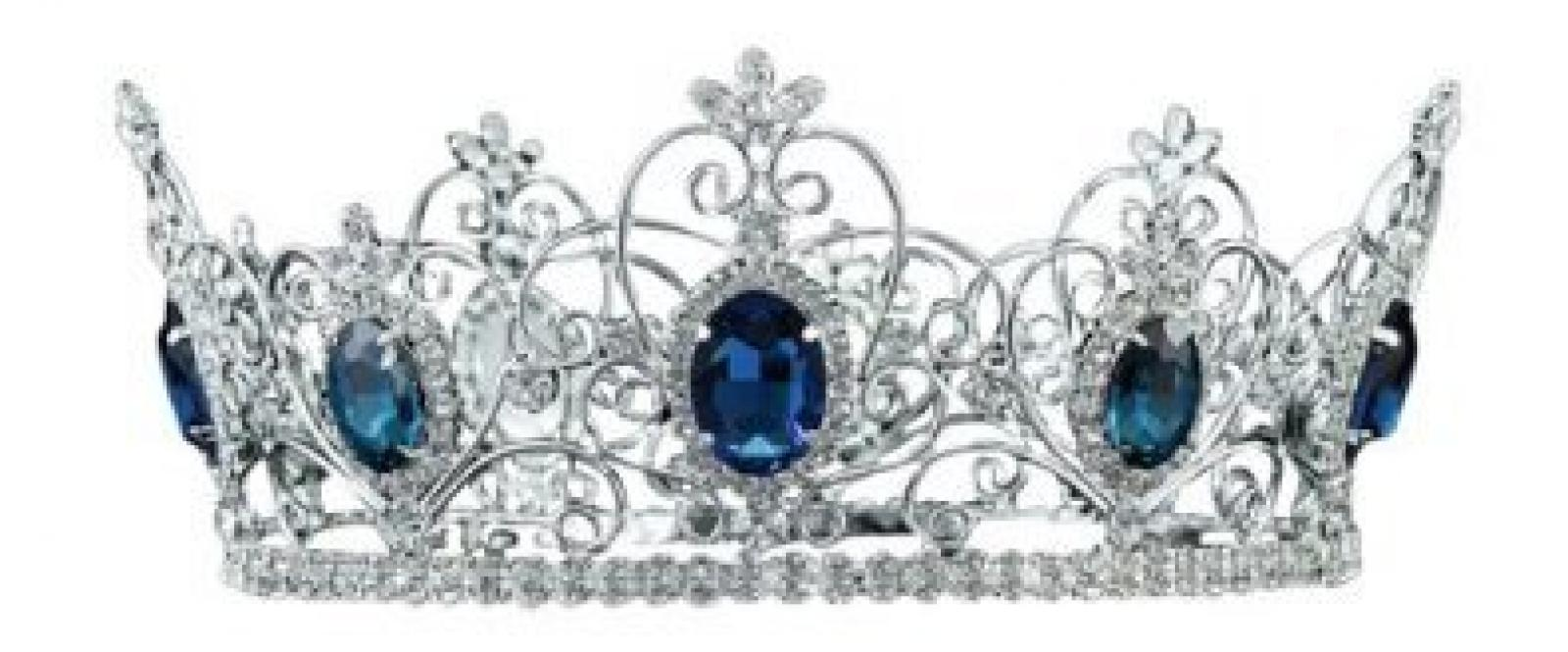 Silber Festzug Blau Saphir Männer or Dame Theater Mittelalterlich König Königin Krone (19cm x 9cm) mit PreciousBags Schutz-Staubbeutel