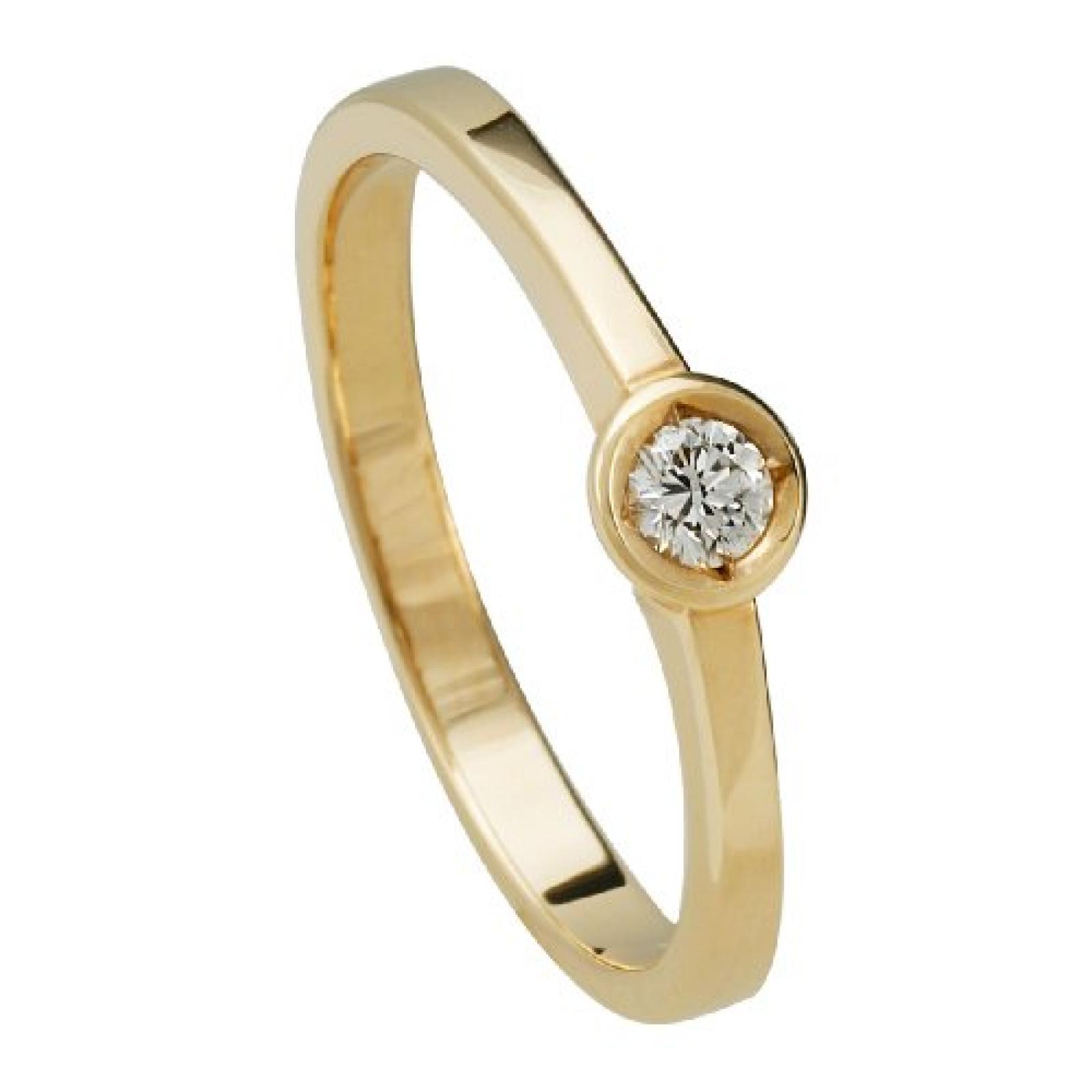Bella Donna Damenring 585/000 Gelbgold 1 Brillant 0,10ct. Weiß Lupenrein