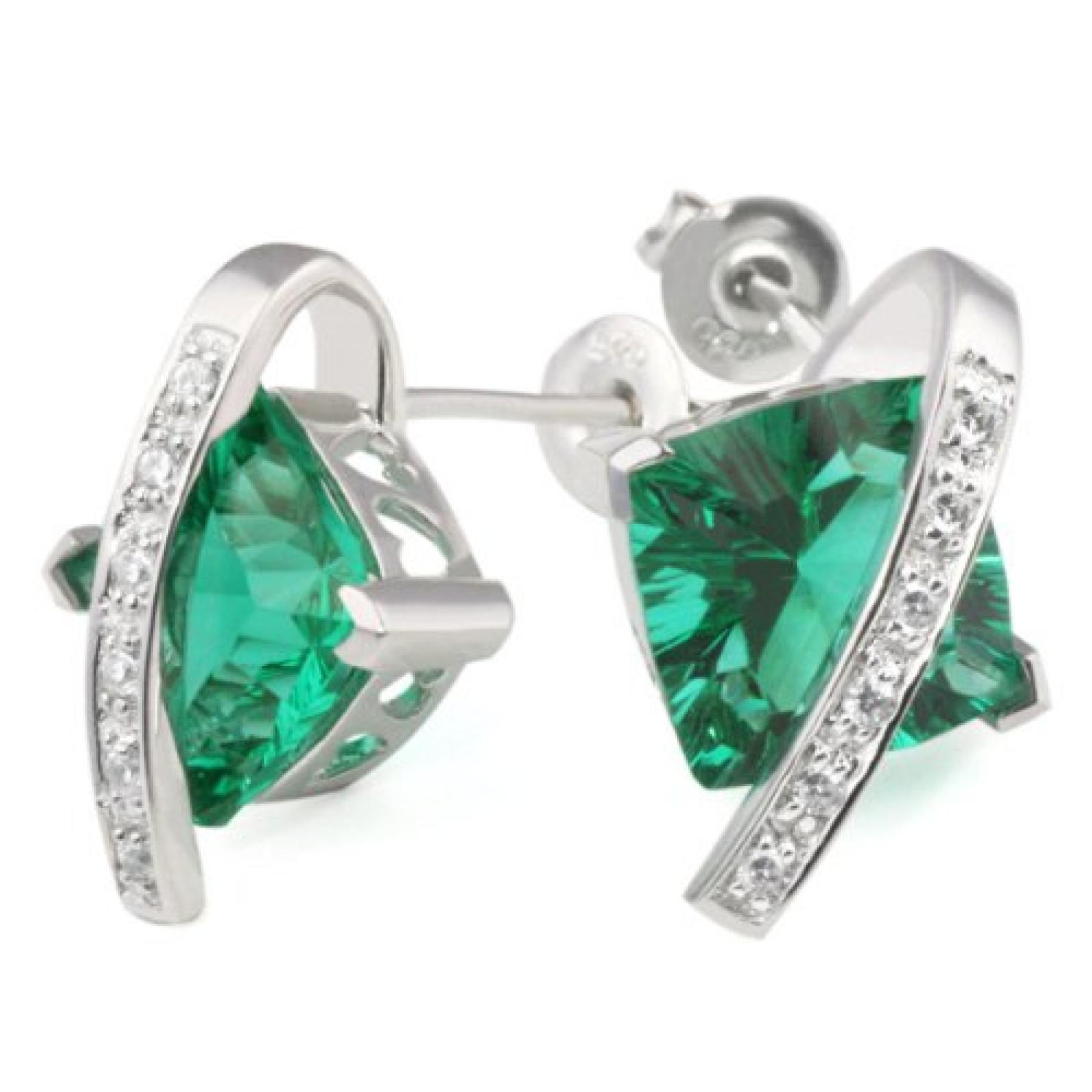 Goldmaid Damen-Ohrstecker smaragdgrün 925 Sterlingsilber Zirkonia weiß Fa O25605S