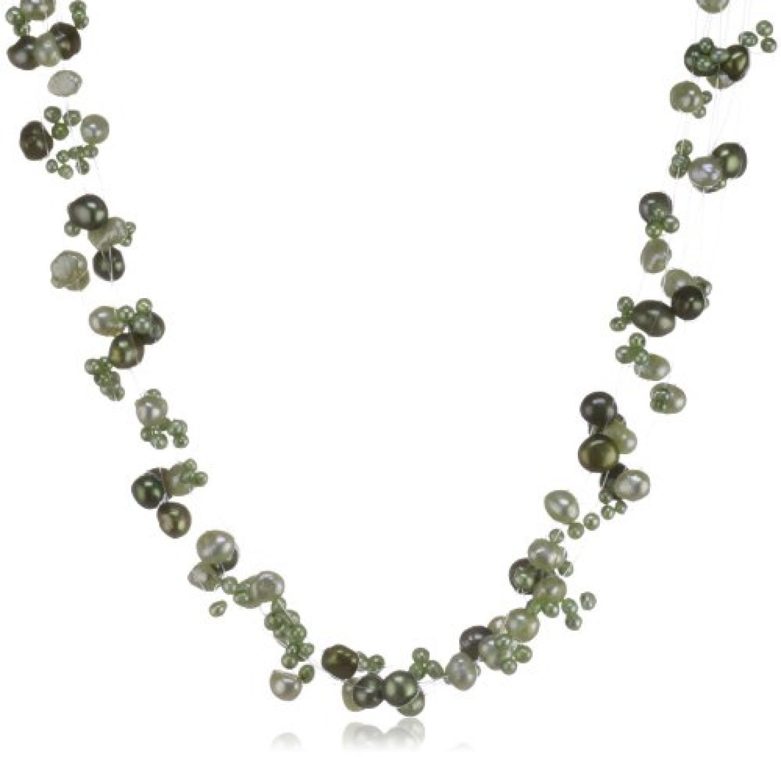 Valero Pearls Fashion Collection Damen-Kette Hochwertige Süßwasser-Zuchtperlen in ca.  4-6 mm Barock maigrün / jade / pastellgrün 925 Sterling Silber    43 cm + 5 cm Verlängerung   60200105