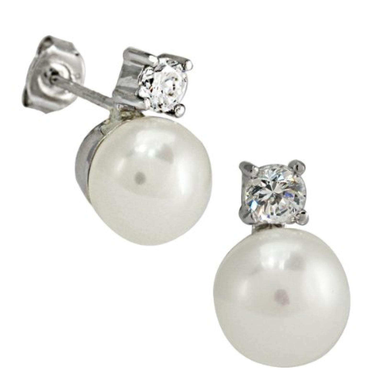 Bella Donna Damen Perlenohrstecker 925/000 Silber 2 Süßwasser-Zuchtperlen weiß 8,0-8,5 mm 2 Zirkonia 635494