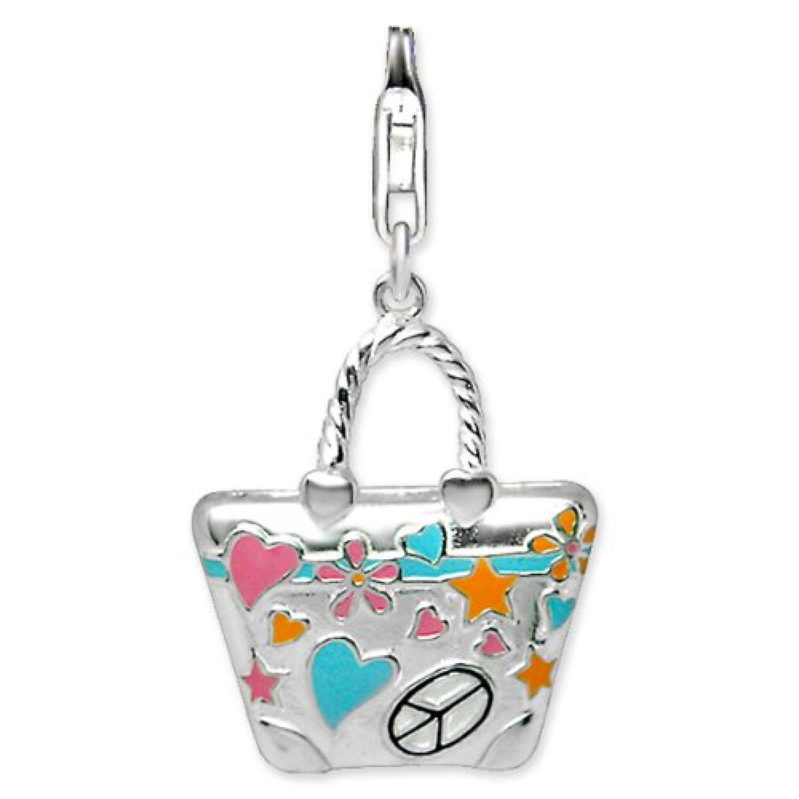Rafaela Donata Charm Collection Damen-Charm XXL Tasche 925 Sterling Silber Emaille rosa / türkis / orange / schwarz  60600299