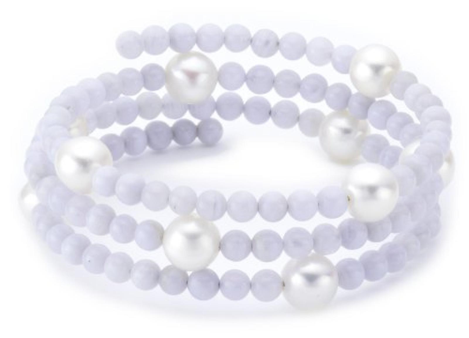 Valero Pearls Fashion Collection Damen-Armband elastisch Hochwertige Süßwasser-Zuchtperlen in ca.  8 mm Rund weiß    Achat 50 cm   60200805
