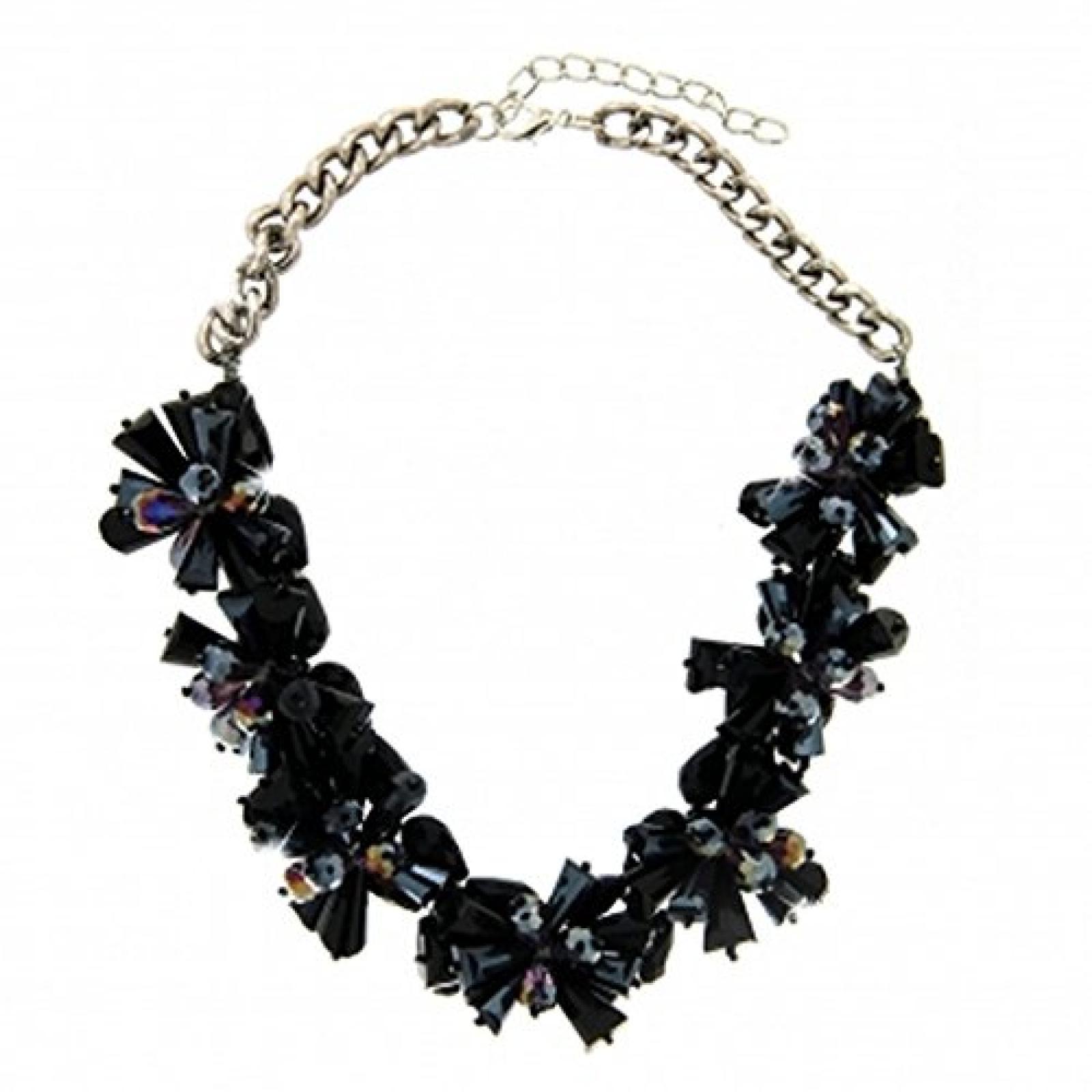 Sweet Deluxe Statement Halskette SOLEY stylish silber mit schwarz schillernden Blüten besetzt