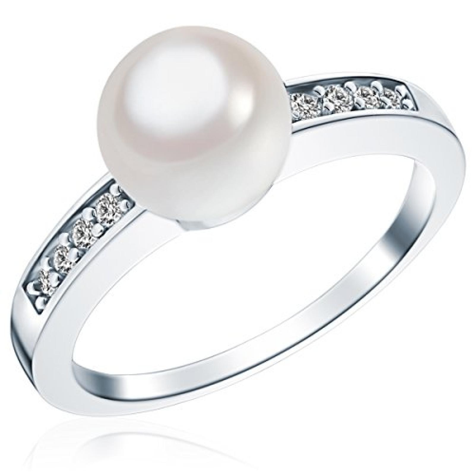 RAFAELA DONATA 925/- Sterling Silber rhod. Ring mit MKP weiß und Zirkonia weiß