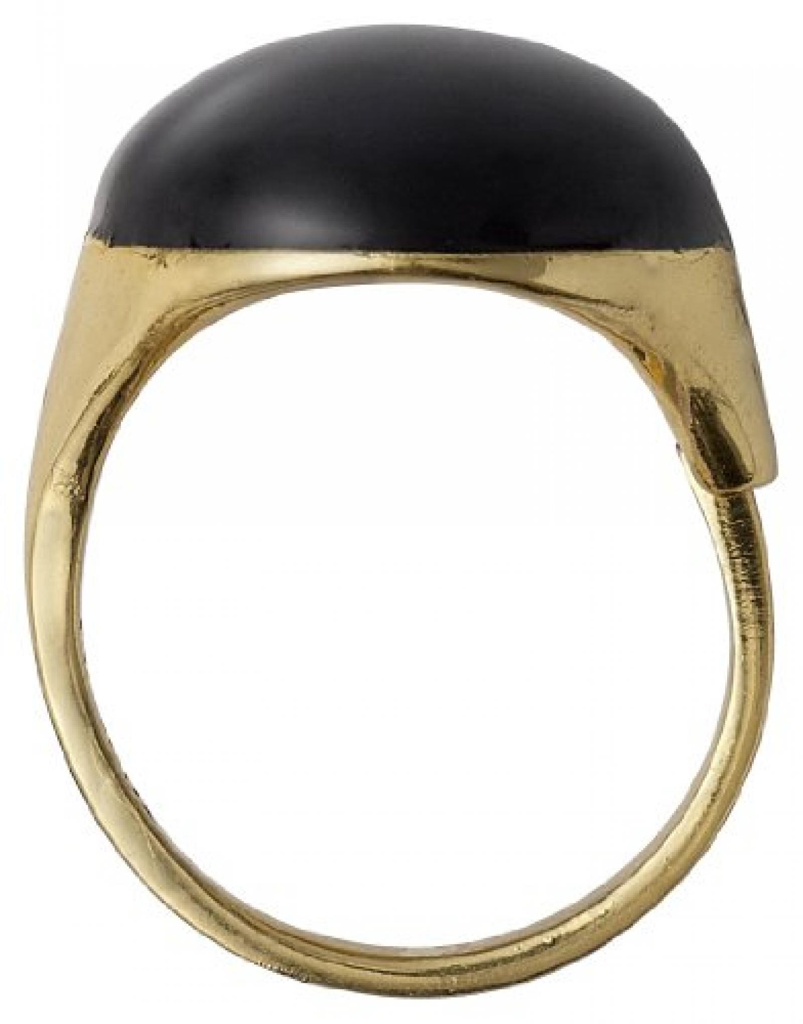 Pilgrim Jewelry Damen-Ring Messing Pilgrim Damen-Ring aus der Serie Enamel world vergoldet,schwarz  2.0 cm 251332104