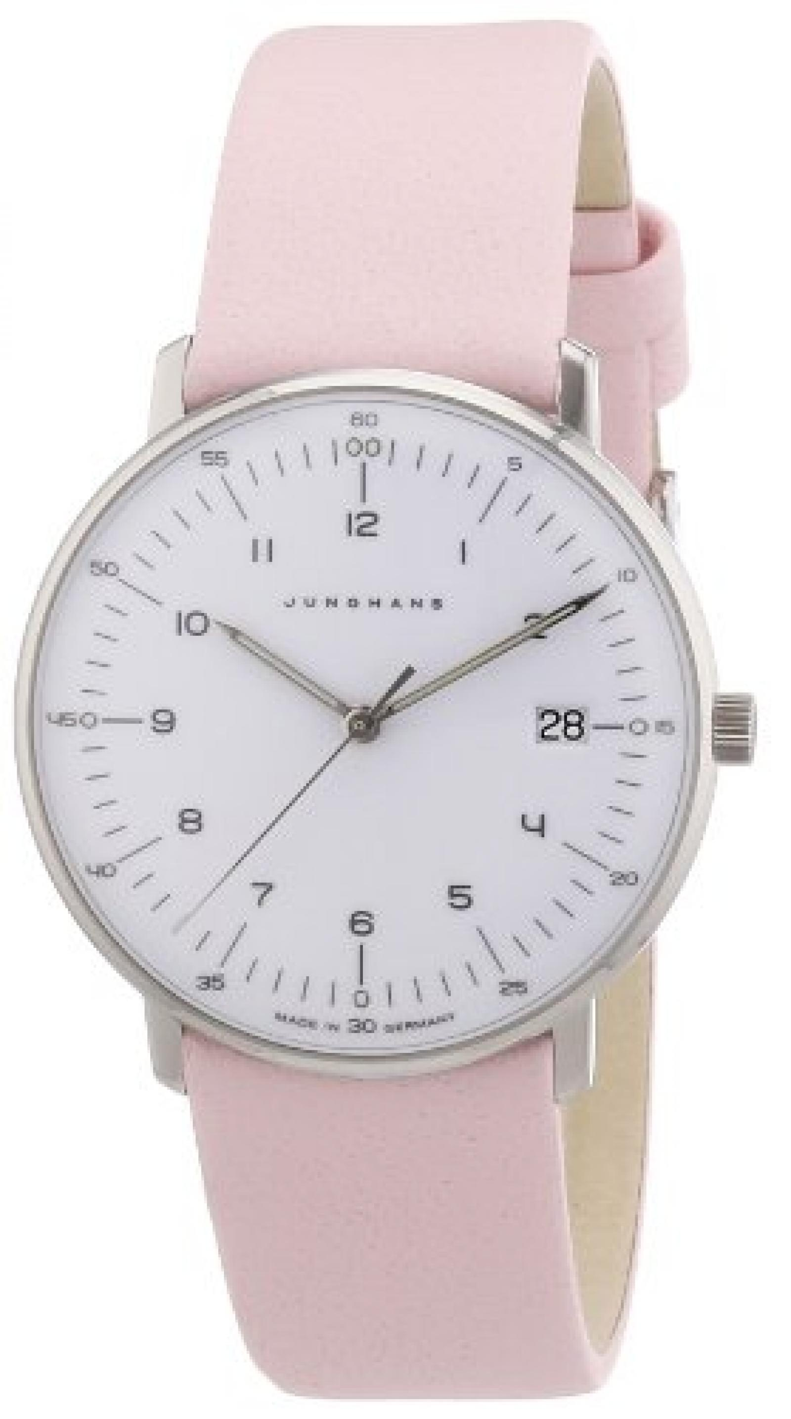 Junghans Damen-Armbanduhr XS Max Bill Analog Quarz Leder 047/4253.00