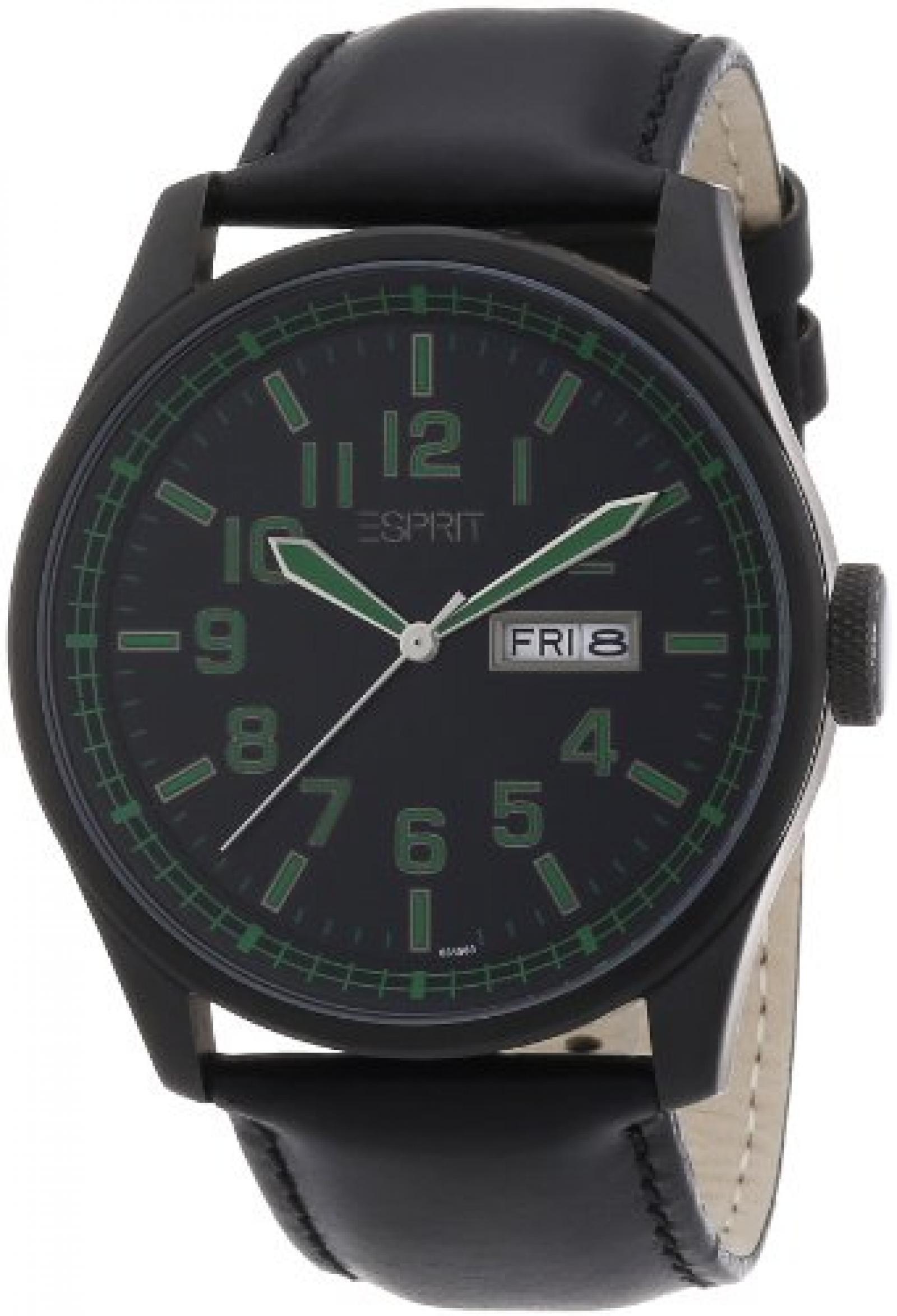 Esprit Herren-Armbanduhr XL Analog Quarz Leder A.ES103151003
