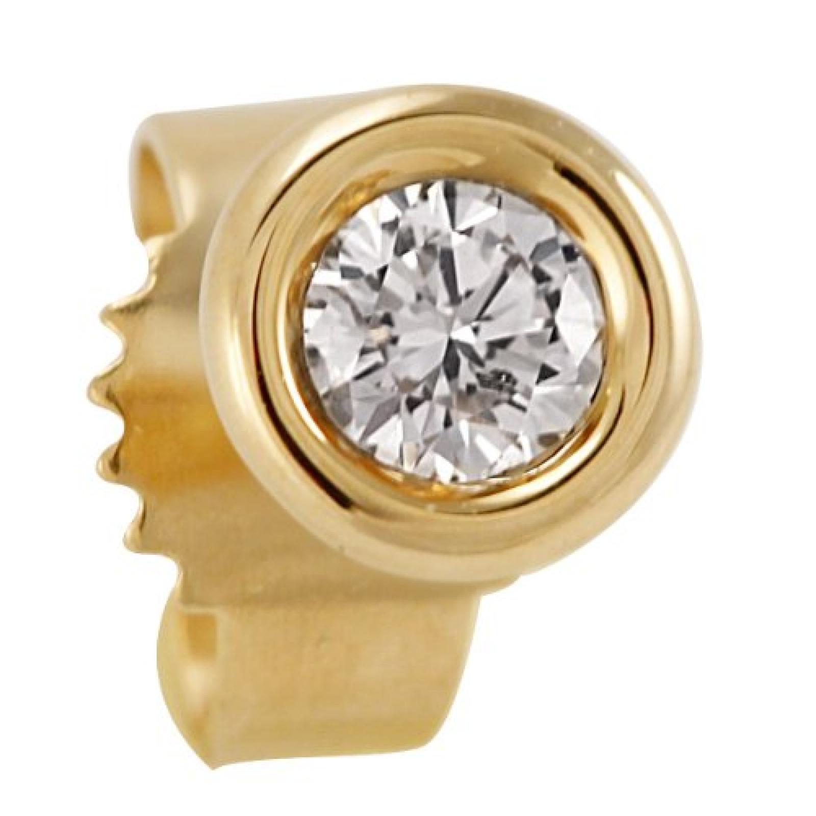Bella Donna Unisex-Ohrstecker 585 Gelbgold 1 Diamant 0.10ct farblos 5 mm 635579