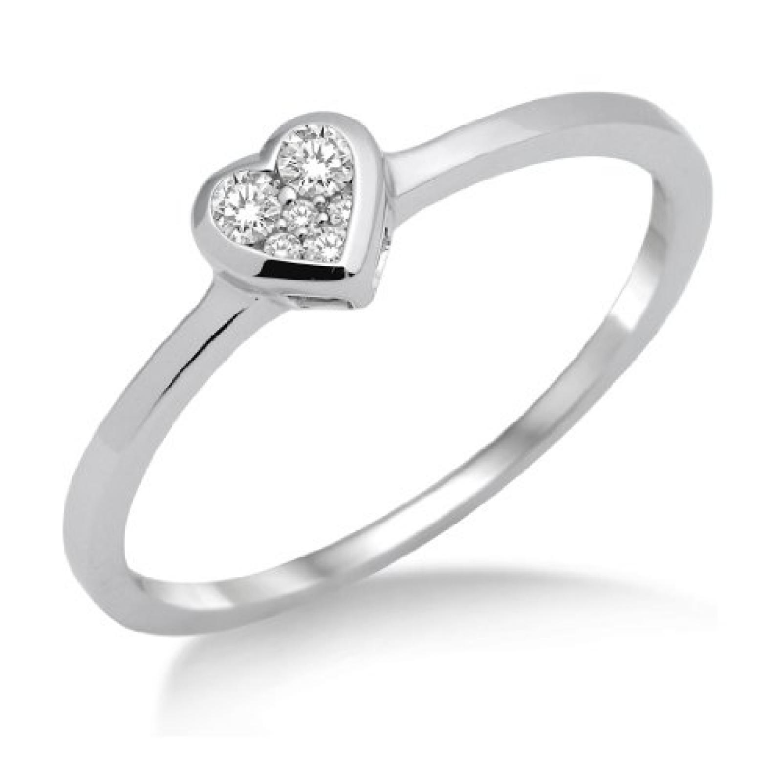 Miore Damen-Ring 750 Weißgold Herz mit Brillanten MF8001RM