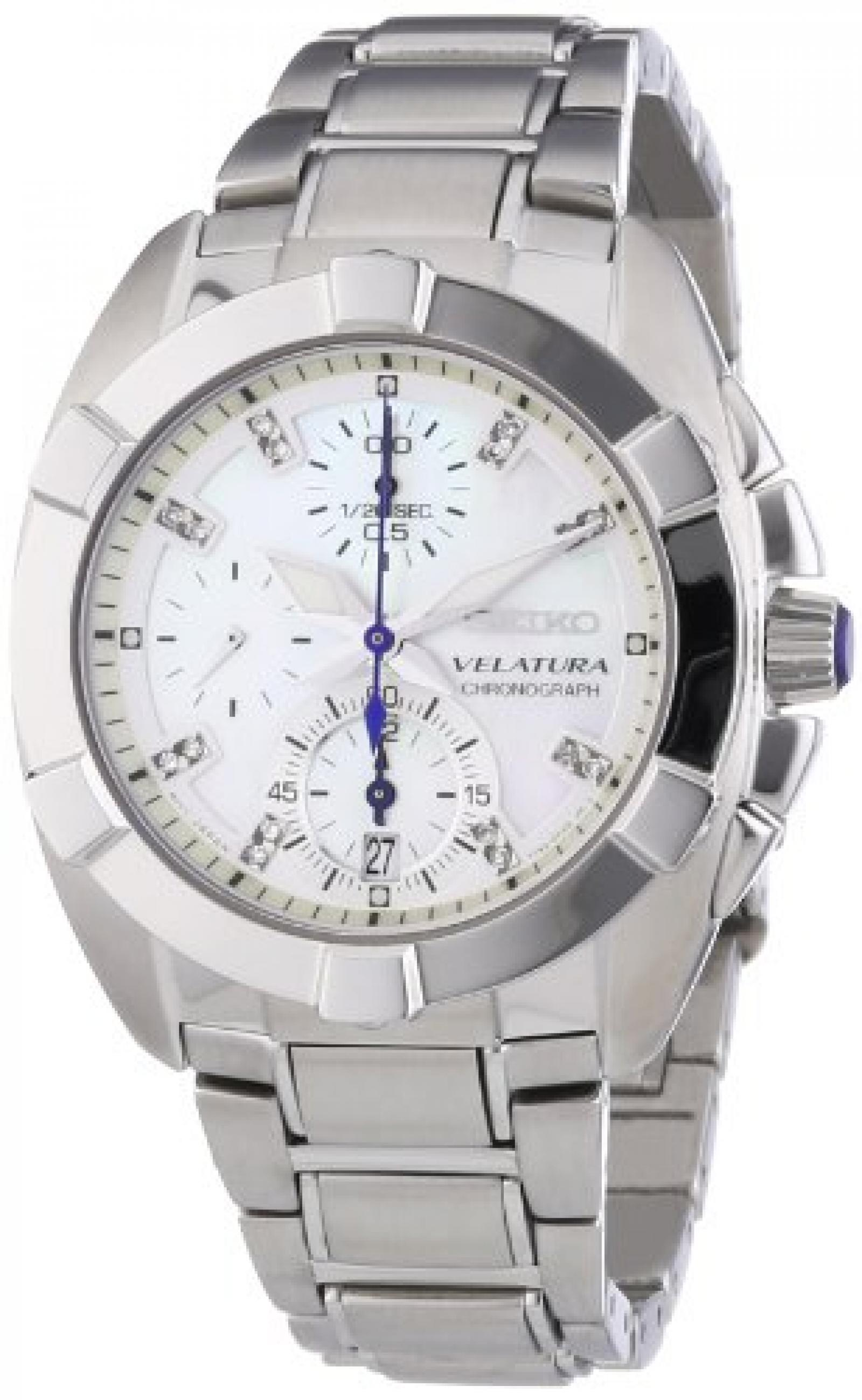 Seiko Damen-Armbanduhr Velatura Chronograph Quarz Edelstahl SNDZ19P1