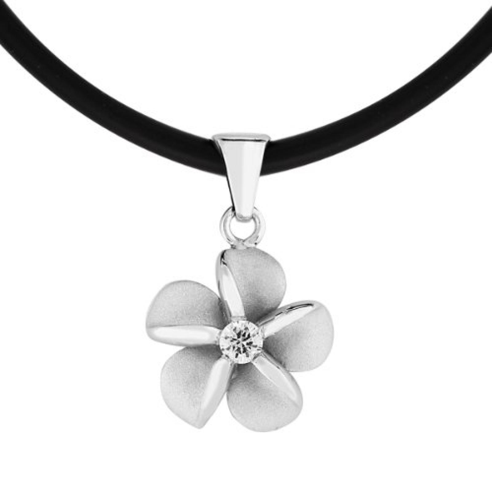 Bella Donna Damen-Halskette Blume 925 Sterling Silber Kautschukband schwarz 1 Zirkonia weiss 44 cm 109516
