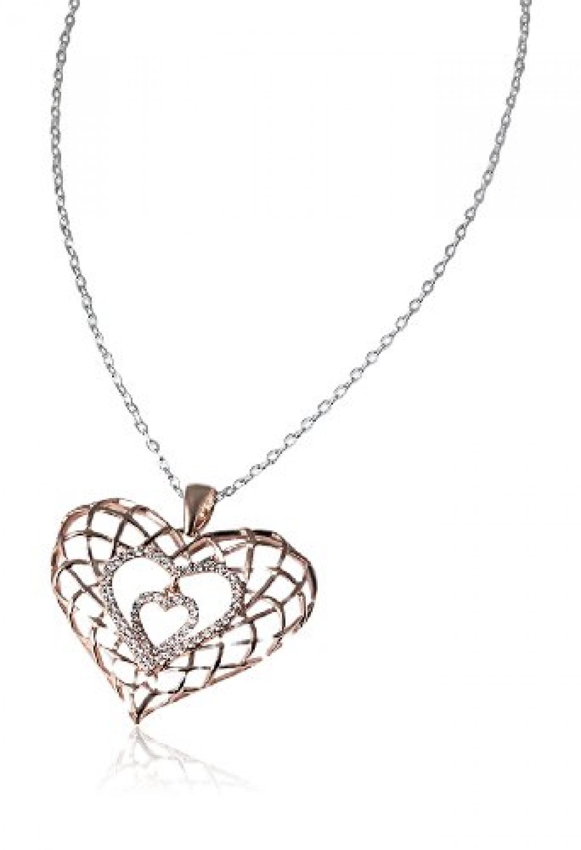 Goldmaid Damen-Halskette mit Anhänger 925 Sterling Silber Rot Heart 54 weiße Zirkonia 45 cm He C6252SR