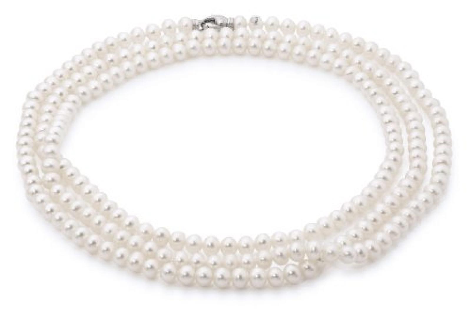Adriana Damen-Kette Romantica Süßwasser Zuchtperlen 925 Sterling-Silber 130 Perlen R2