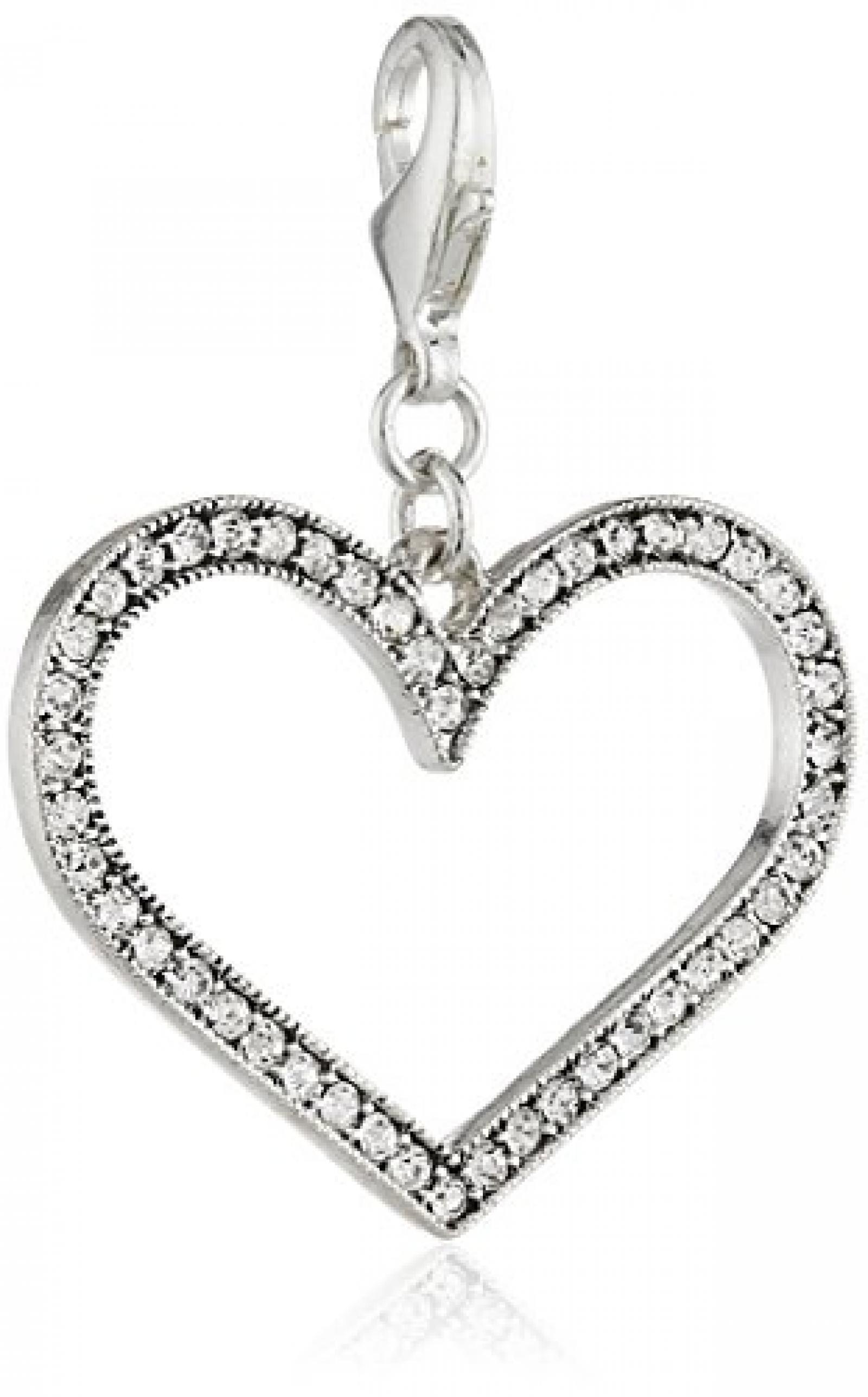 Pilgrim Damen-Anhänger Herz Mega Charms versilbert kristall 41121-6013