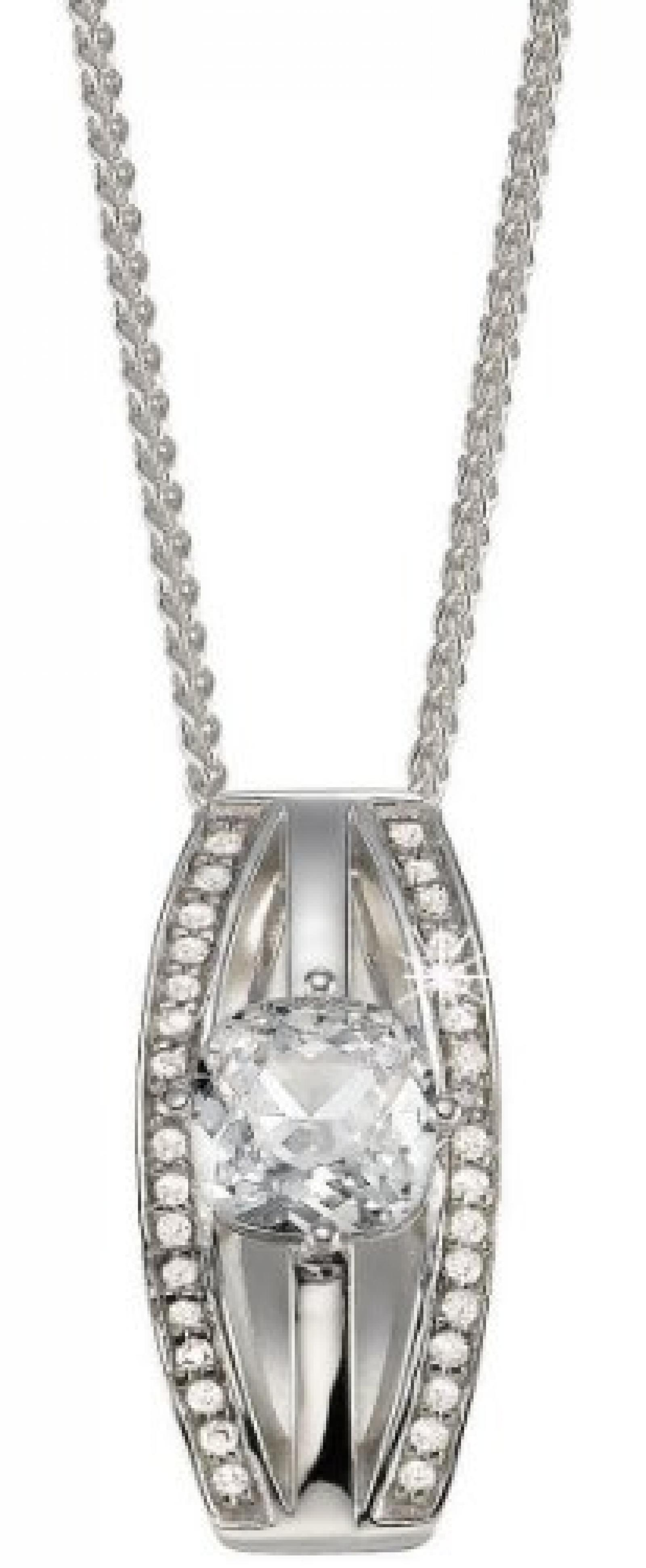 Pierre Cardin Damen Halskette 925 Sterling Silber rhodiniert Kristall Zirkonia Extase 42 cm weiß PCNL90403A420